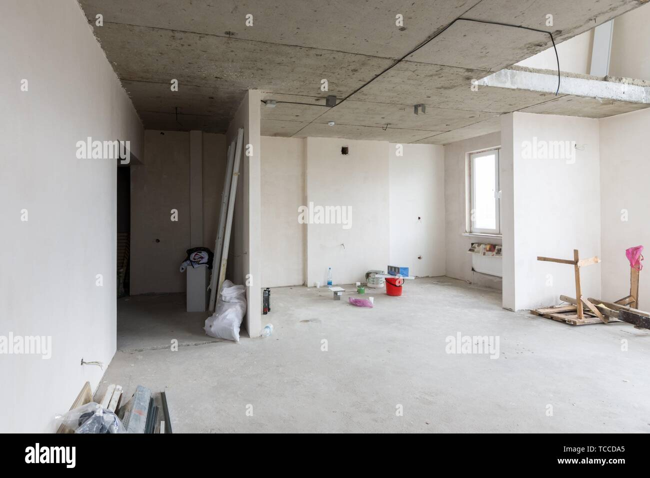 Repair in a two-story apartment in a new building. - Stock Image