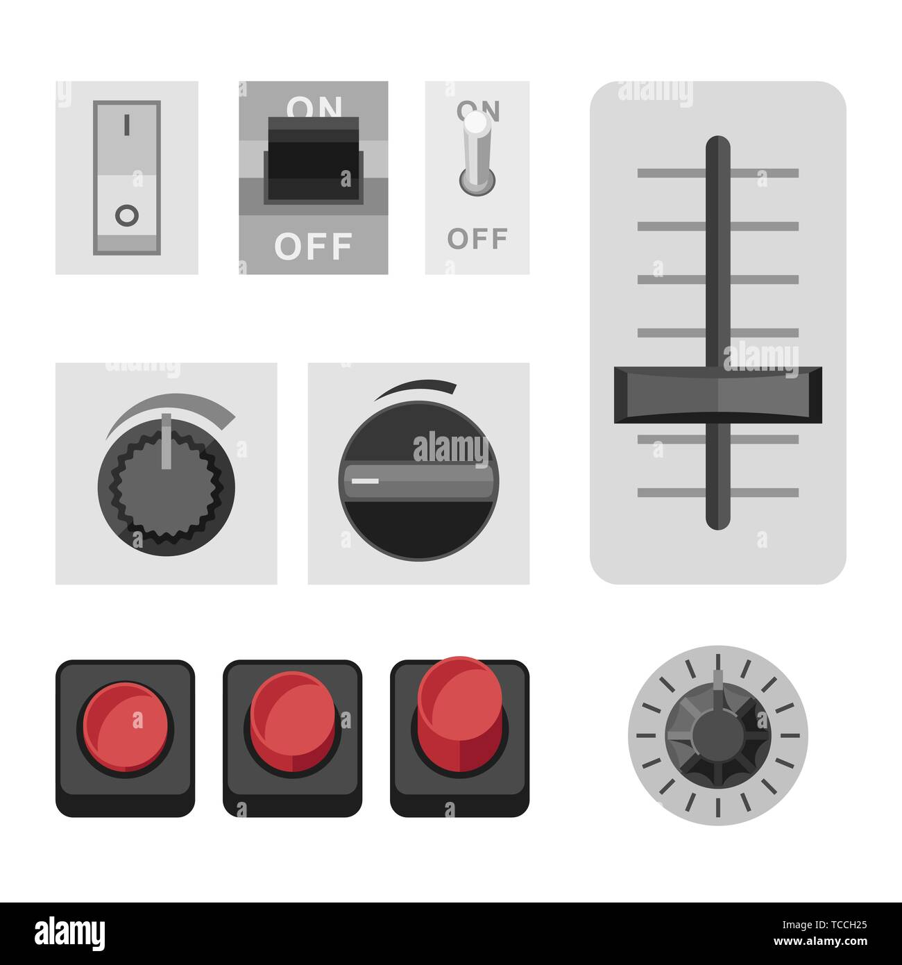 Switches flat icons - Stock Vector