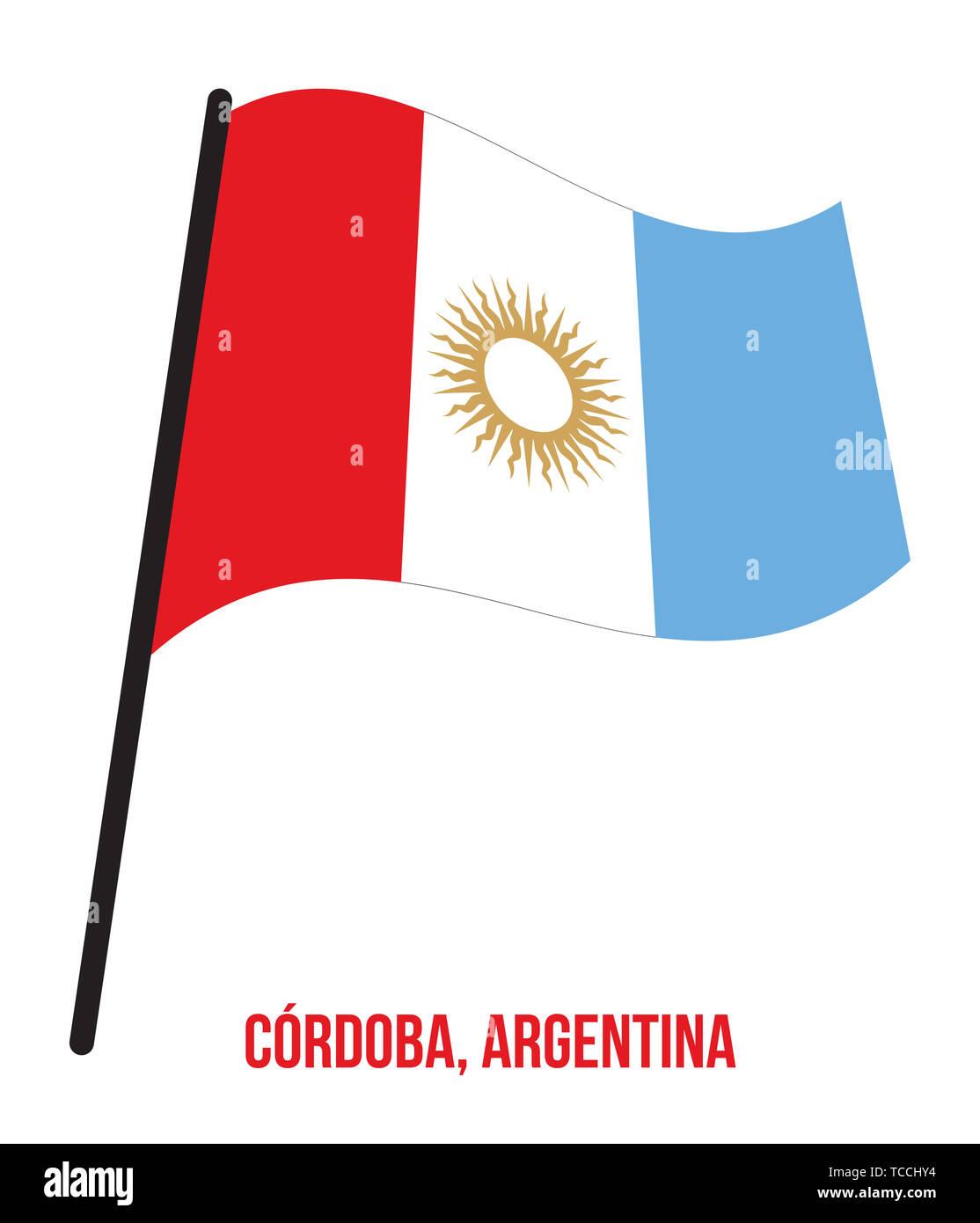 Cordoba Flag Waving Vector Illustration on White Background. Flag of Argentina Provinces. - Stock Image