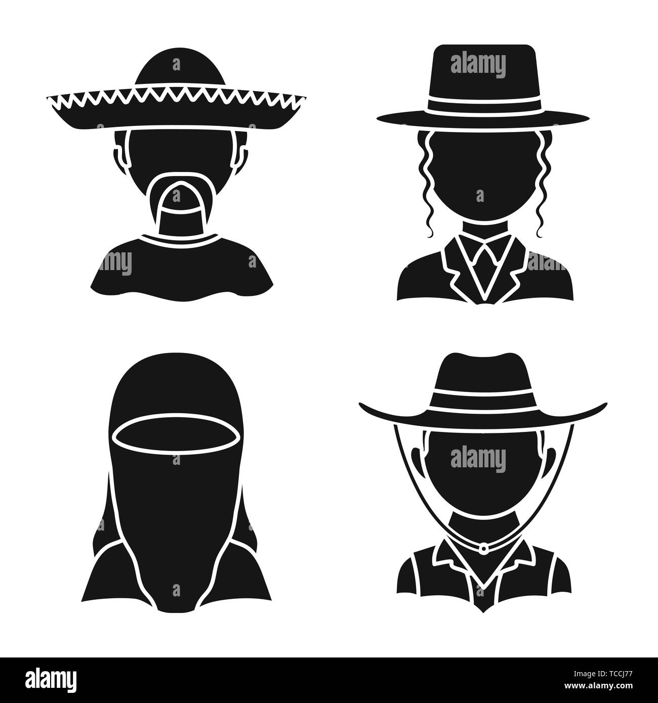 Vector design of person and culture sign. Set of person and race  stock vector illustration. - Stock Image