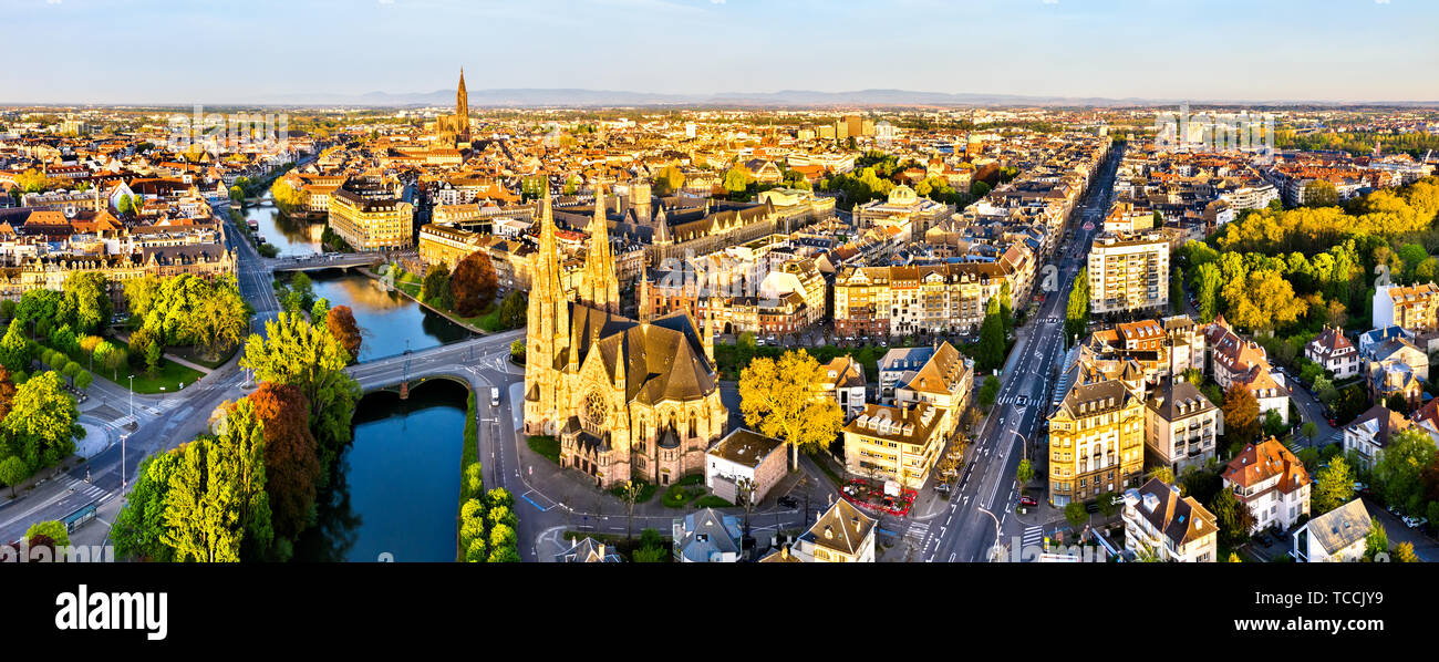 St. Paul Church and Strasbourg Cathedral - Alsace, France - Stock Image