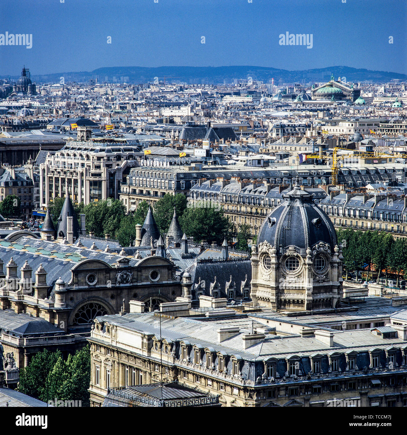 Overview of the city from Notre-Dame de Paris cathedral, Hotel Dieu hospital, Paris, France, Europe, Stock Photo