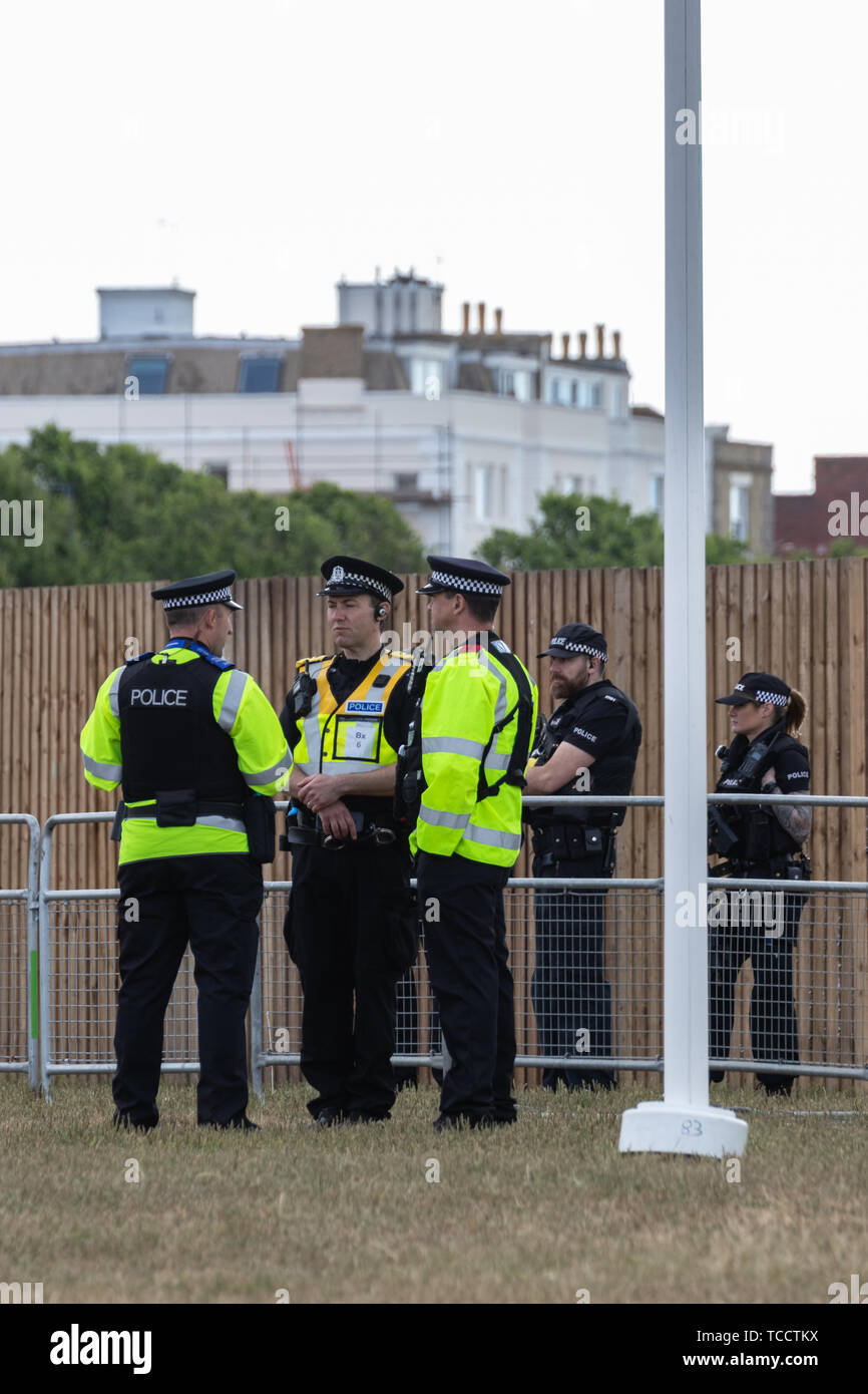 British police officers policing and outdoor event - Stock Image