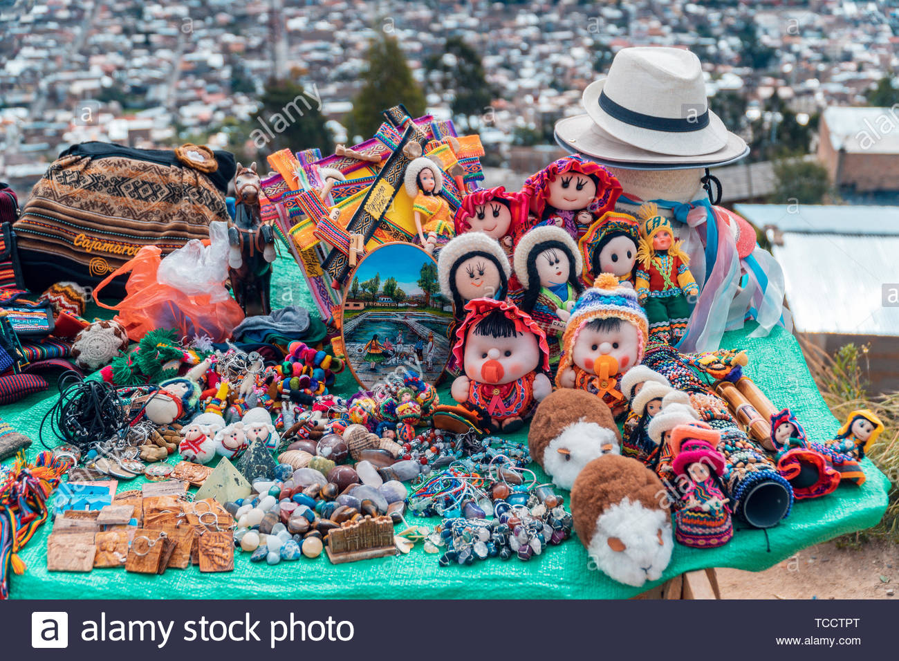 Andean craft stall - Cajamarca Peru - Stock Image