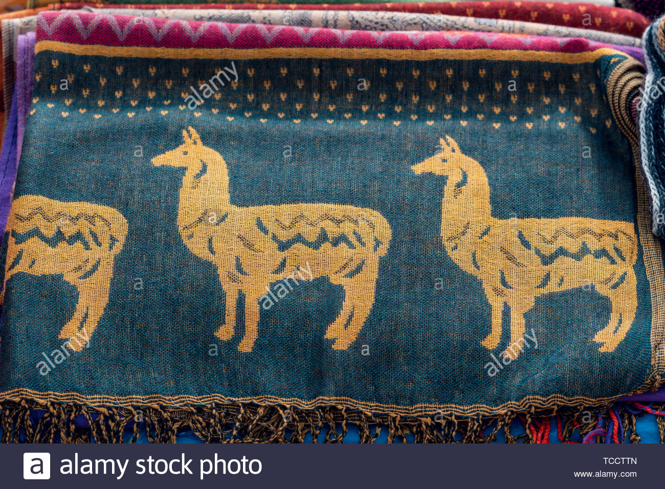 Fabrics and crafts Cajamarca Peru - Stock Image