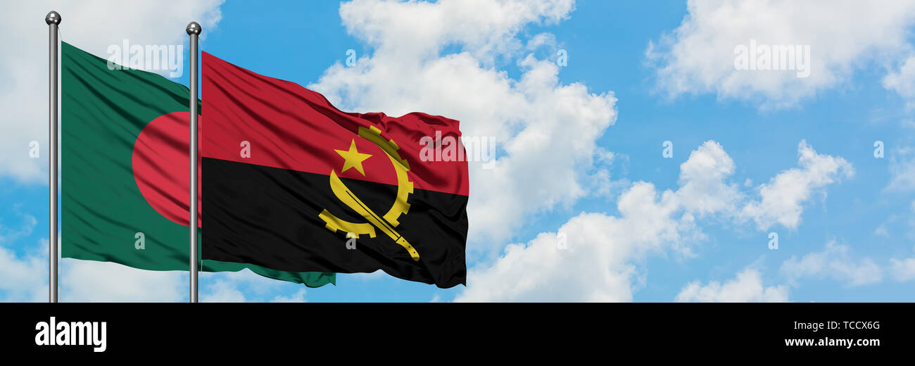 Bangladesh and Angola flag waving in the wind against white cloudy blue sky together. Diplomacy concept, international relations. - Stock Image
