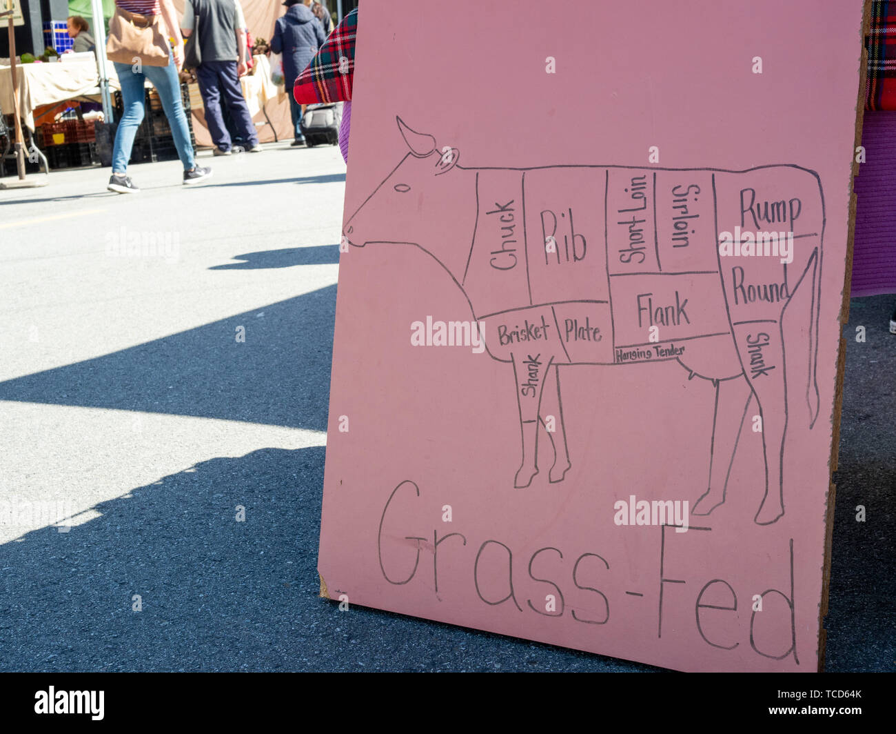 Hand drawn cuts of beef chart on grass fed posted sign outdoors at market - Stock Image