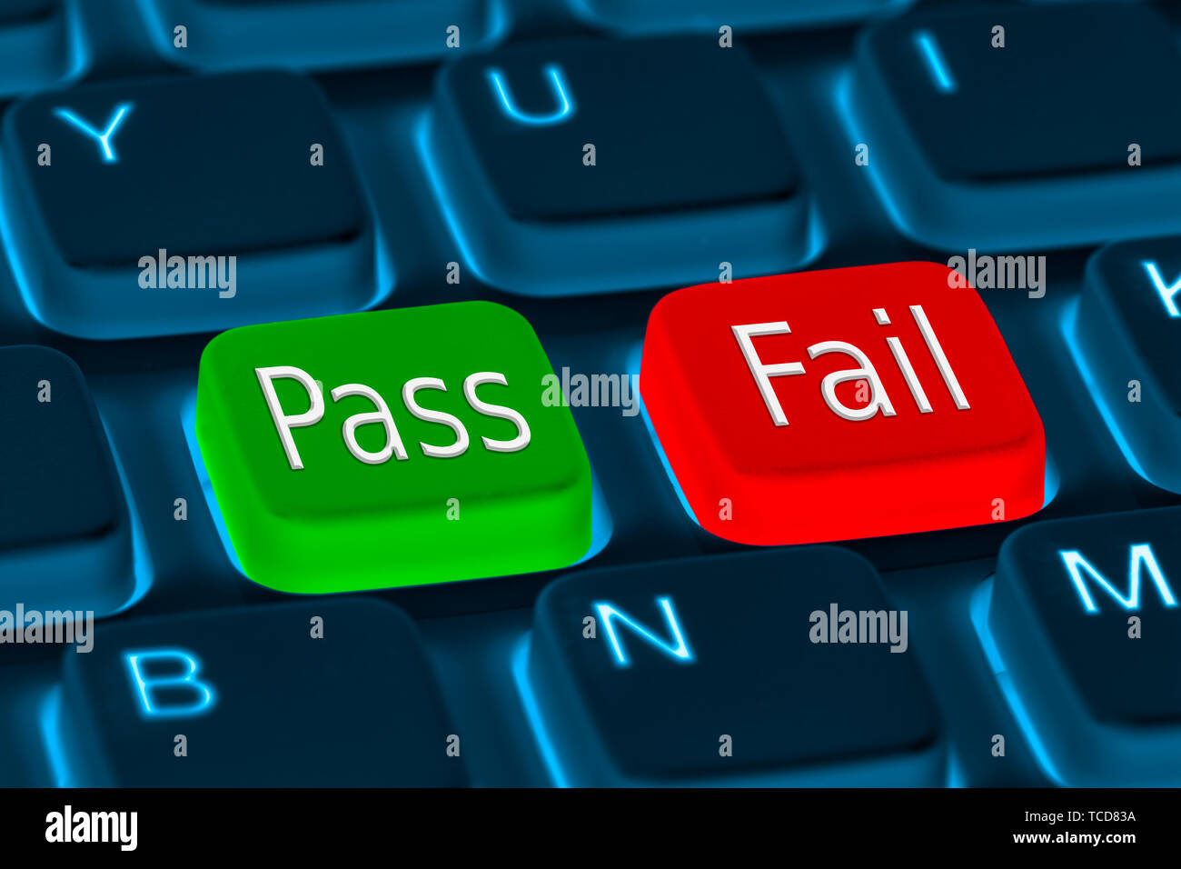Pass or Fail (Passed or Failed, Passing or Failing) buttons on a computer keyboard. - Stock Image