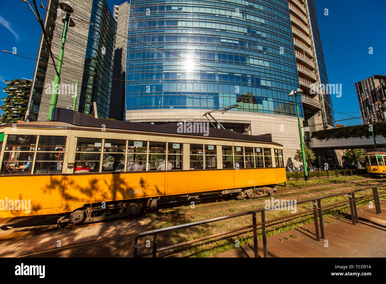 MILAN, ITALY - APRIL 28, 2017: Vintage tram ATM Class 1500 on the street of Milan, near Porta Nuova in Italy. It is a series of tram vehicles construc - Stock Image