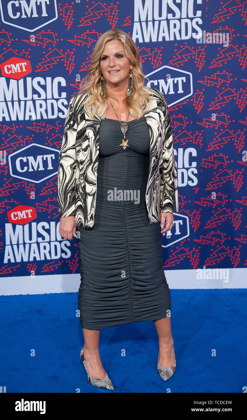 June 5, 2019 - Nashville, Tennessee; USA - TRISHA YEARWOOD  arrives at the 2019 CMT Music Awards that took place at the Bridgestone Arena located in downtown Nashville.  Copyright 2019 Jason Moore. (Credit Image: © Jason Moore/ZUMA Wire) - Stock Image