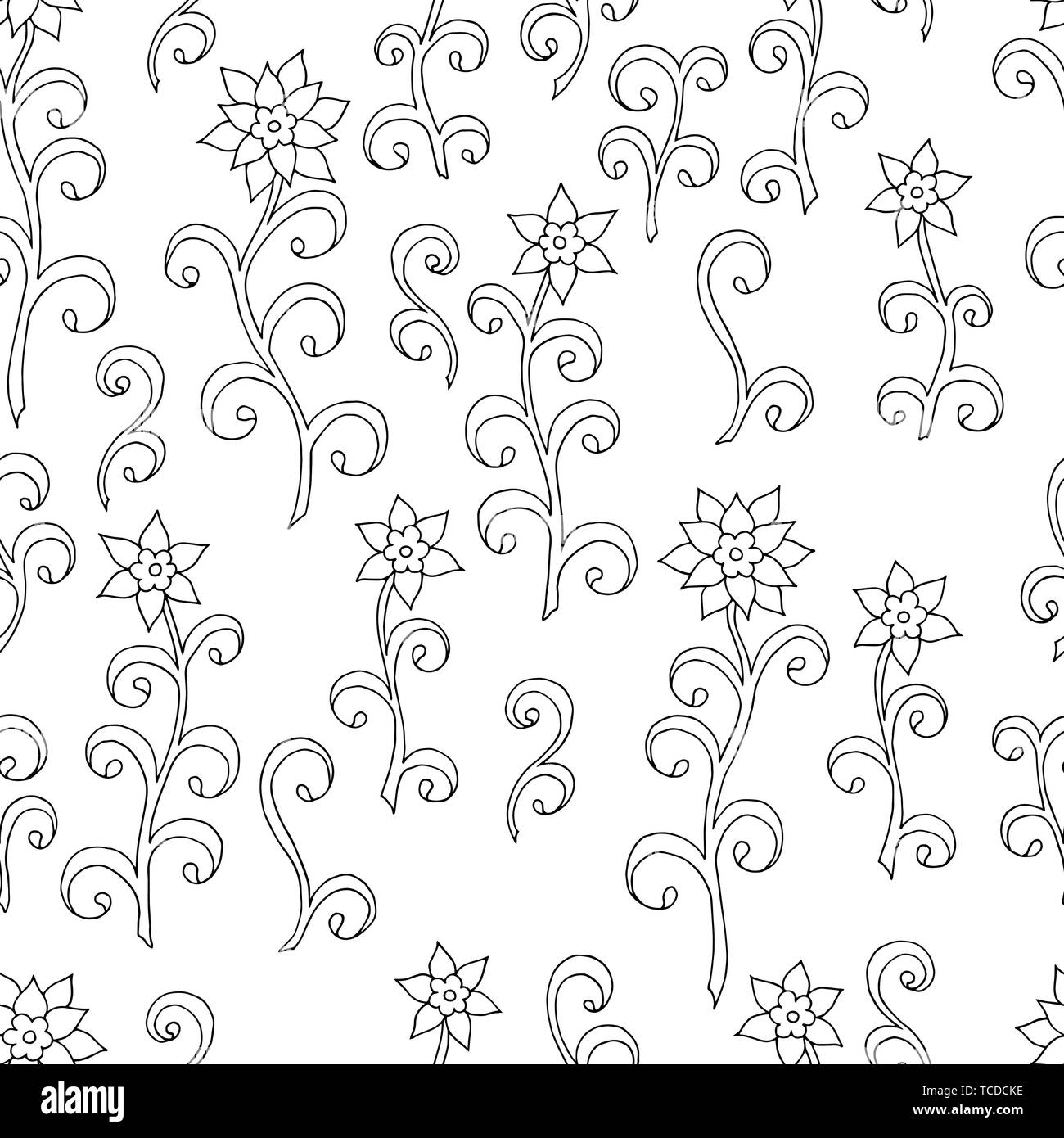 abstract seamless pattern of doodle flowers coloring page for kids and adults TCDCKE