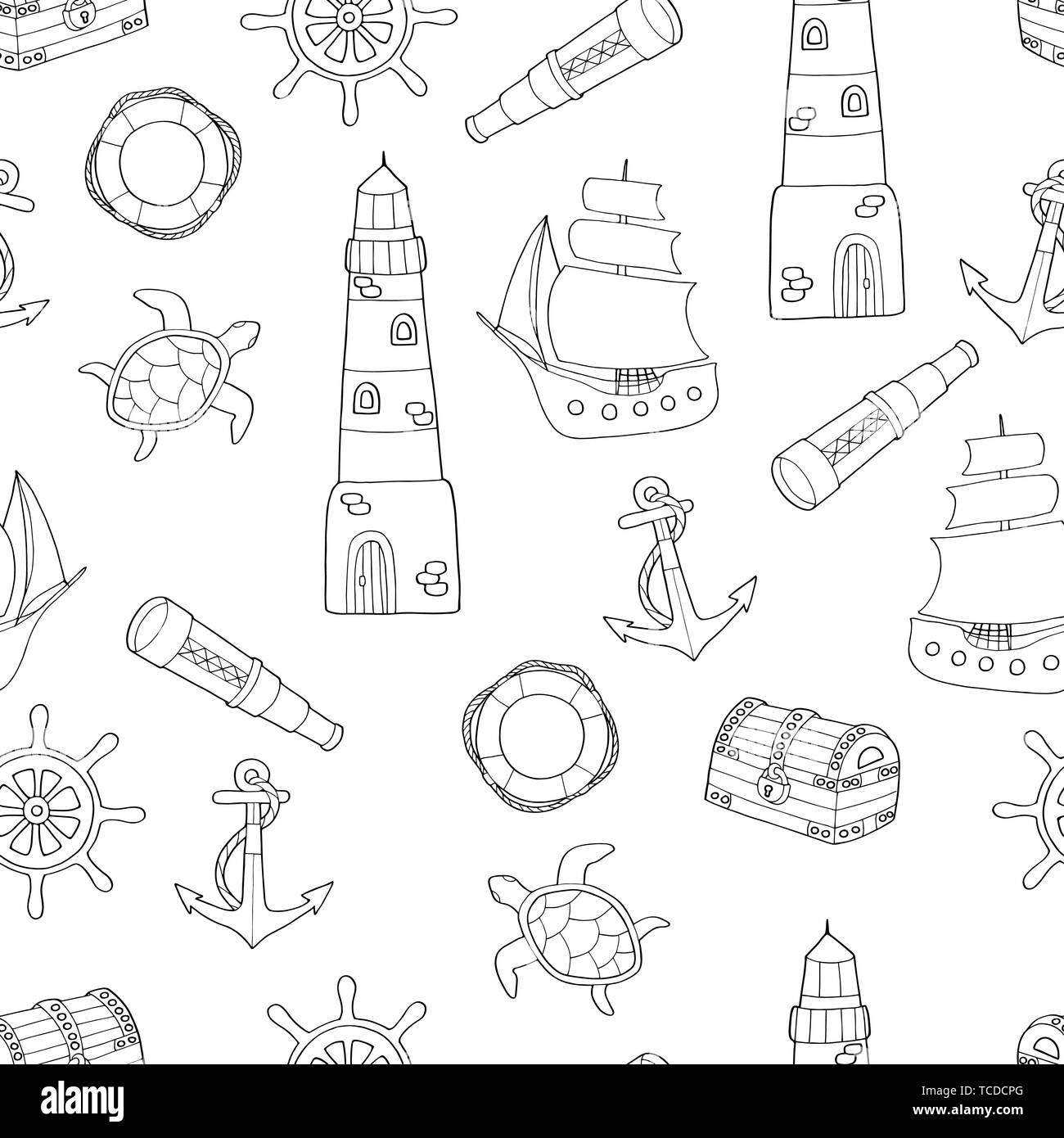 Doodle seamless pattern on marine theme: ship, lighthouse ...