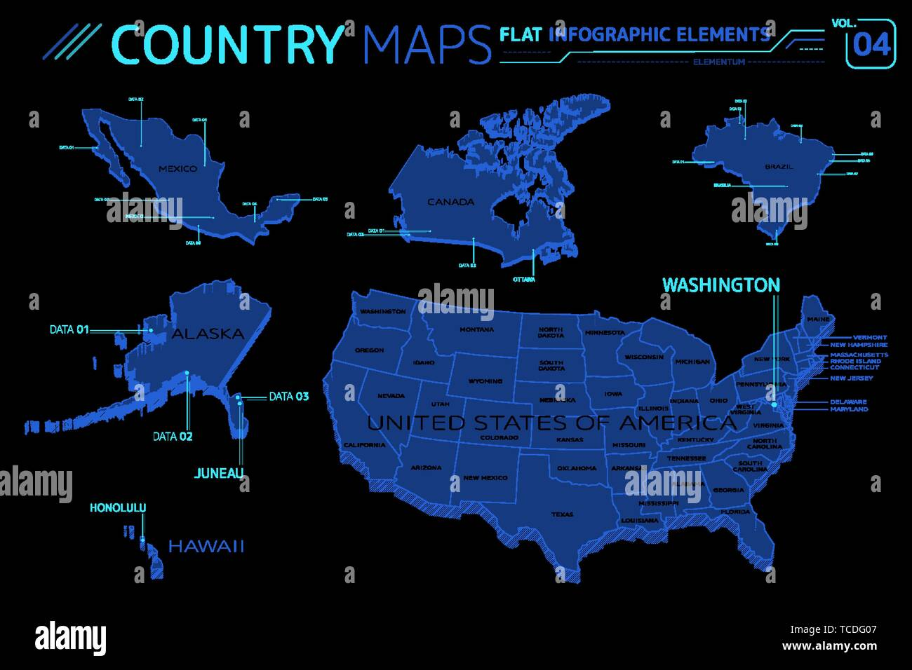 Picture of: United States Of America Alaska Hawaii Mexico Canada And Brazil Vector Maps Stock Vector Image Art Alamy
