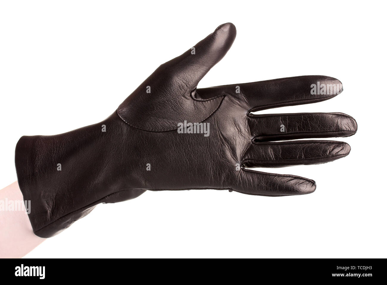 223f91177 women hand in black leather glove isolated on white Stock Photo ...