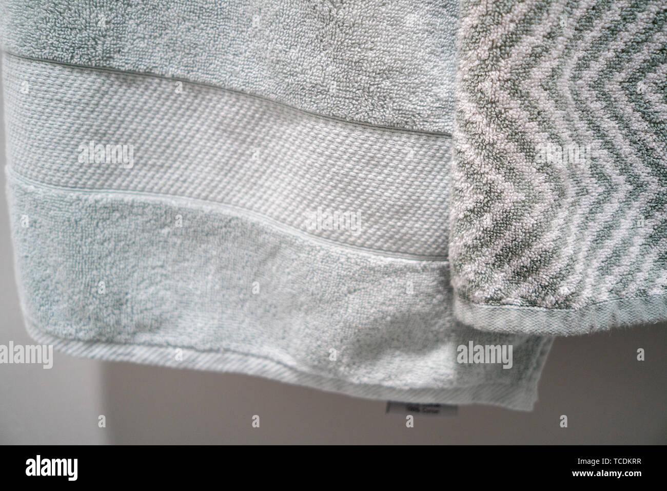 Green White Decorative Bath Towels Stock Photo 248621963