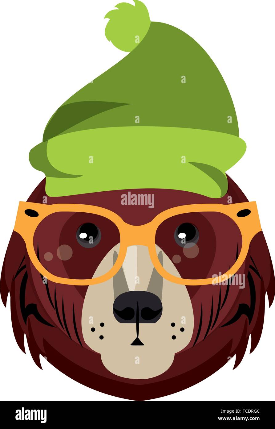 Cool animal with fashion accesories head - Stock Vector