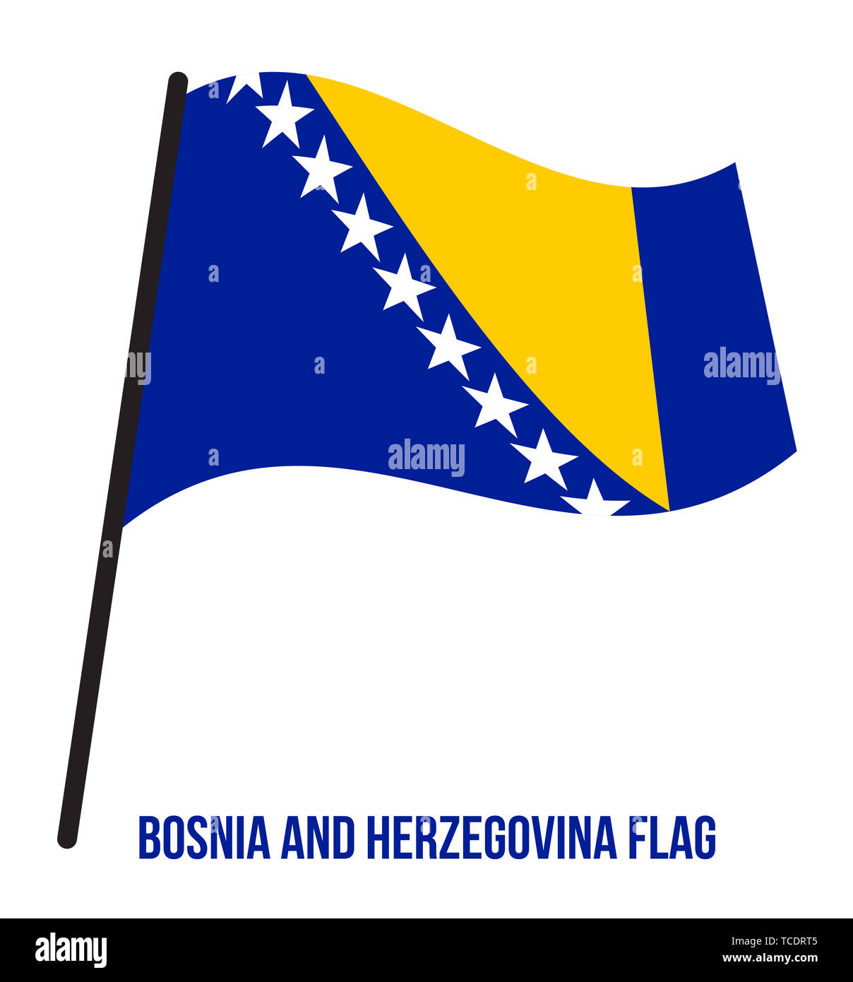 Bosnia and Herzegovina Flag Waving Vector Illustration on White Background. Bosnia and Herzegovina National Flag. - Stock Image