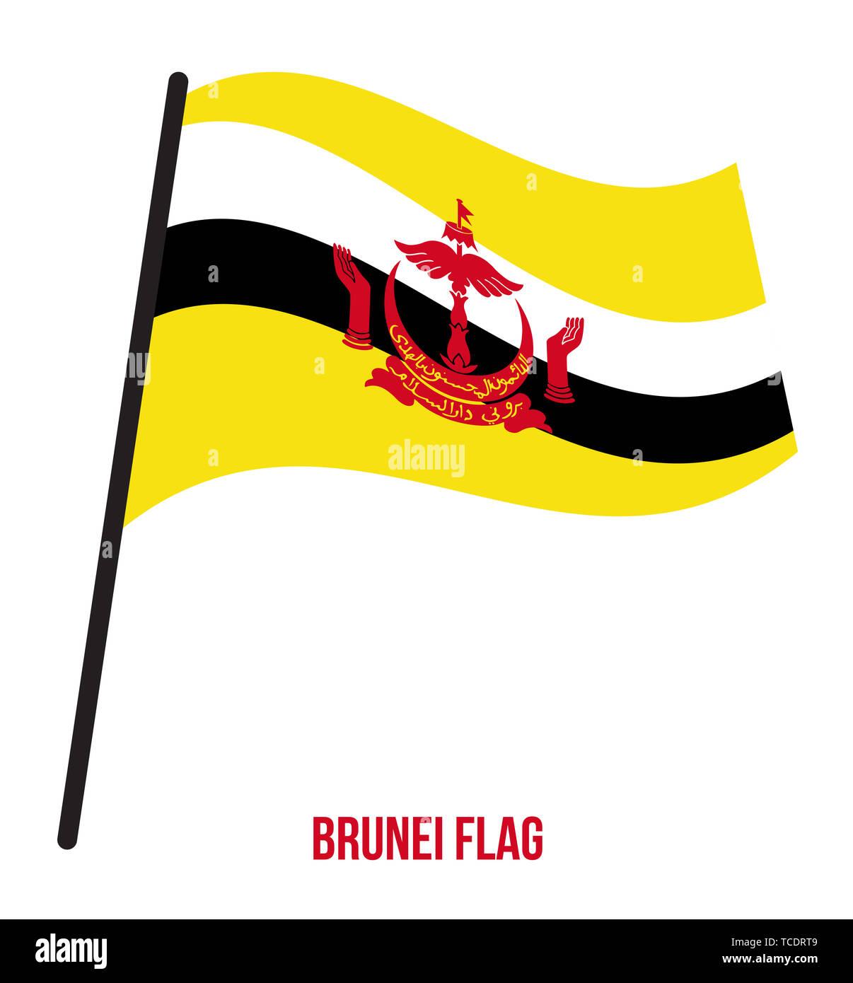 Brunei Flag Waving Vector Illustration on White Background. Brunei National Flag. - Stock Image