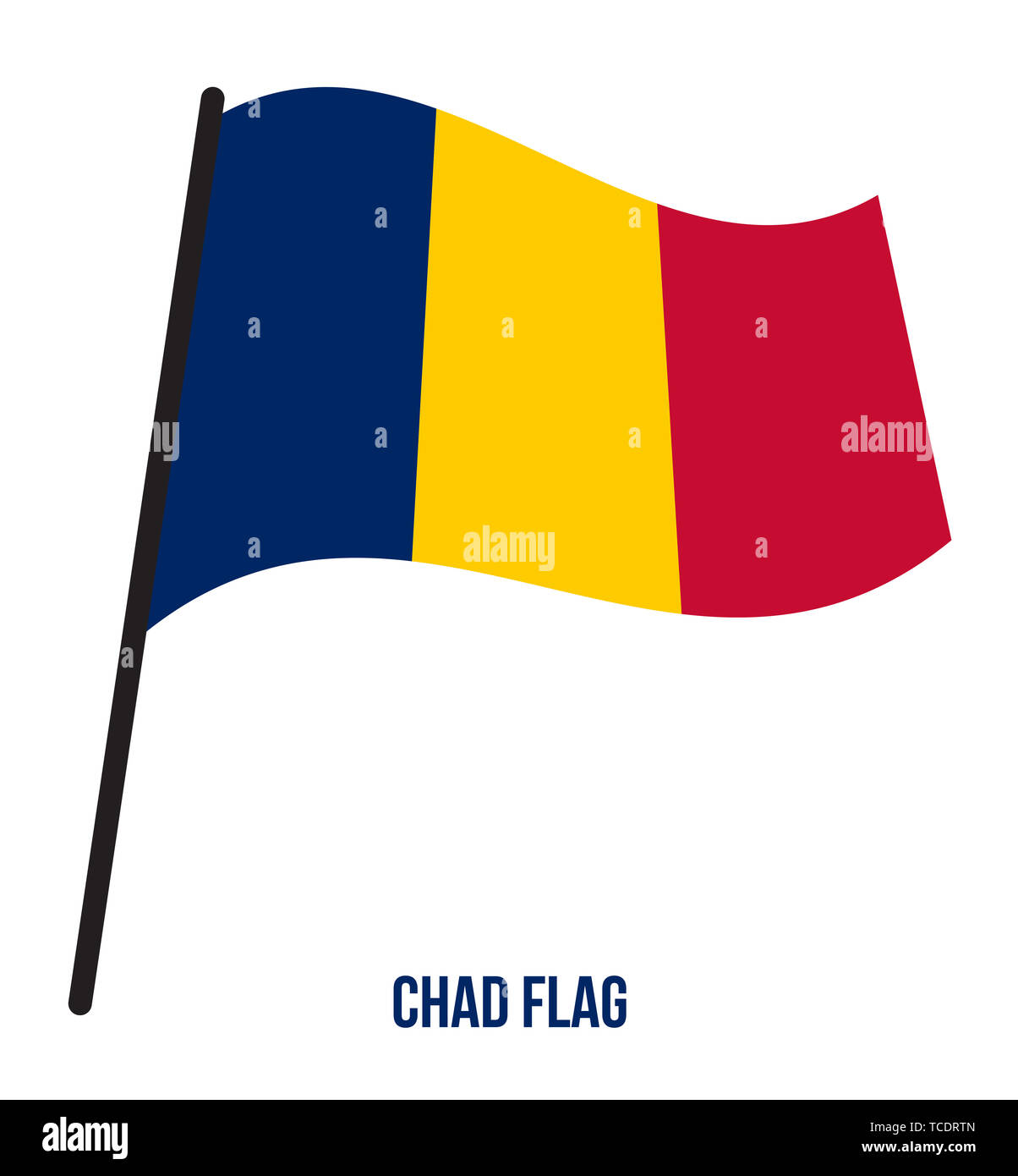Chad Flag Waving Vector Illustration on White Background. Chad National Flag. - Stock Image