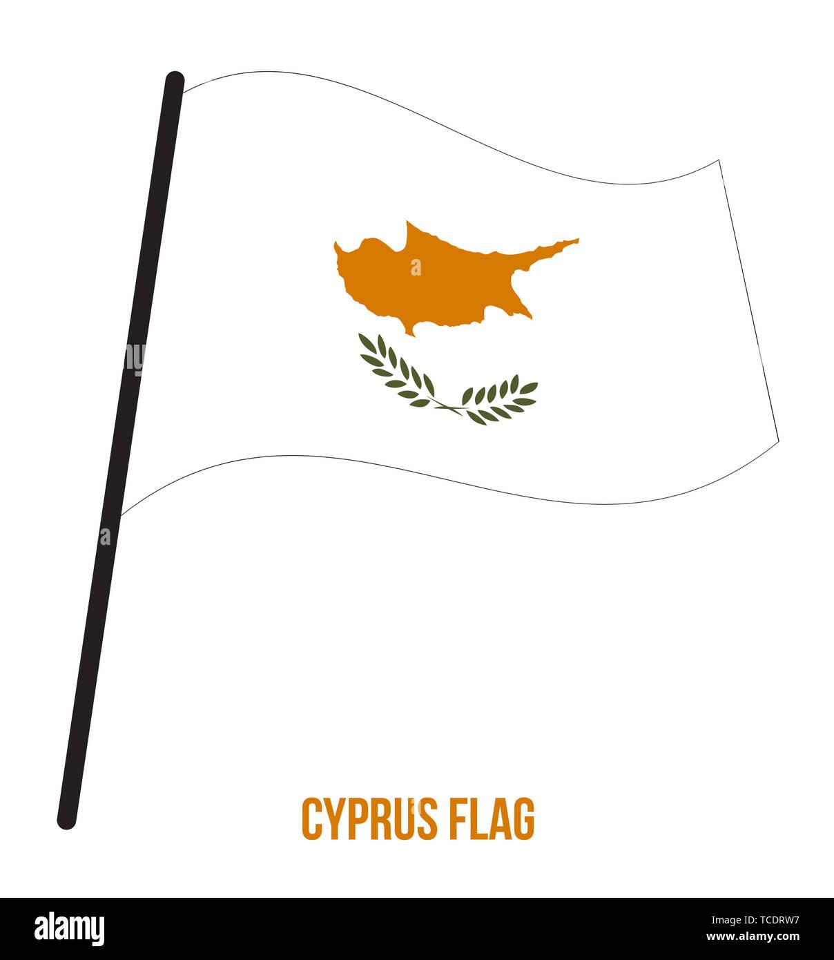 Cyprus Flag Waving Vector Illustration on White Background. Cyprus National Flag. - Stock Image