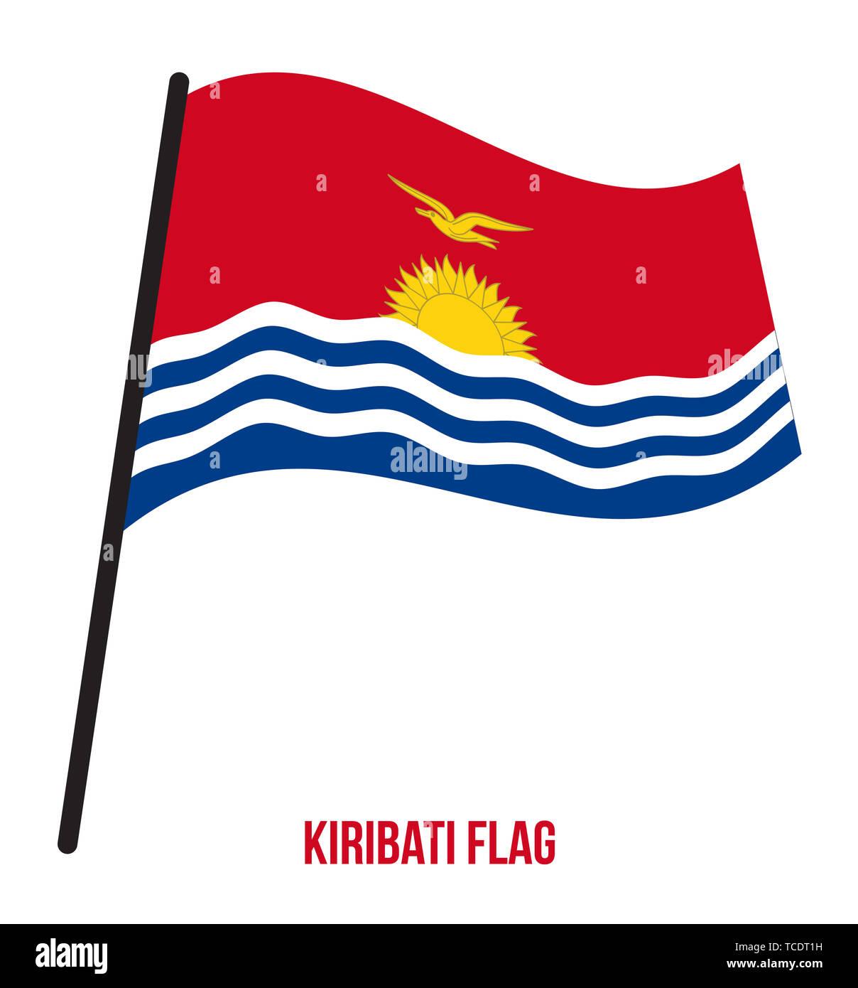 Kiribati Flag Waving Vector Illustration on White Background. Kiribati National Flag. - Stock Image