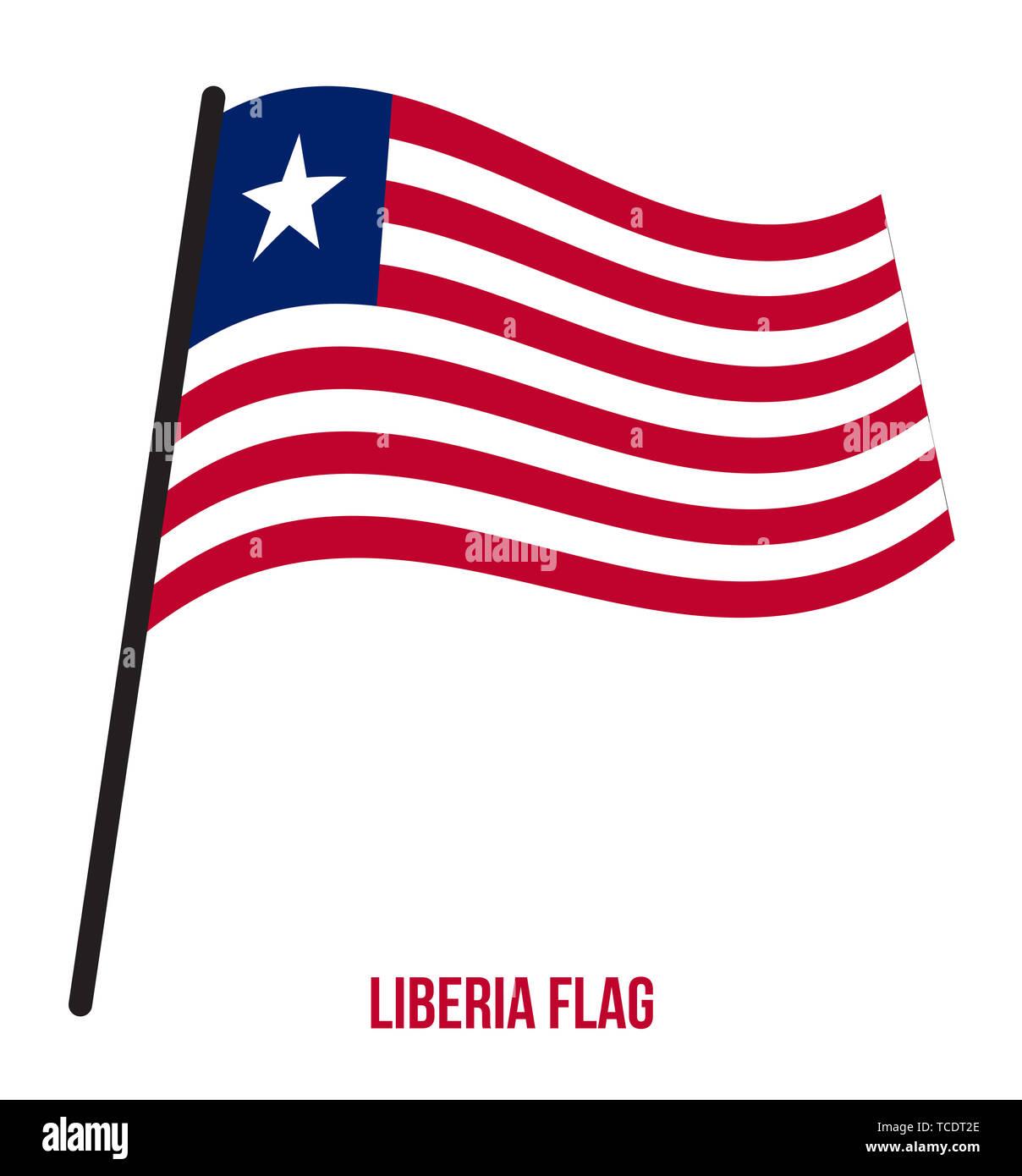 Liberia Flag Waving Vector Illustration on White Background. Liberia National Flag. - Stock Image