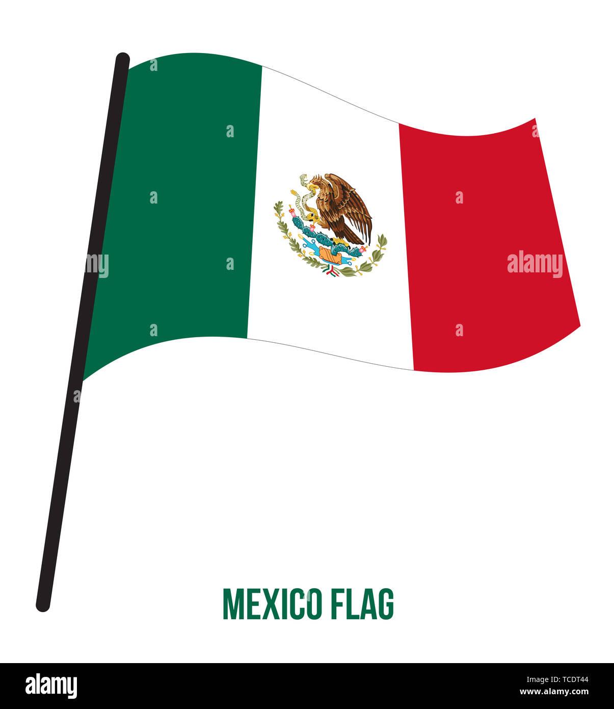 Mexico Flag Waving Vector Illustration on White Background. Mexico National Flag. - Stock Image