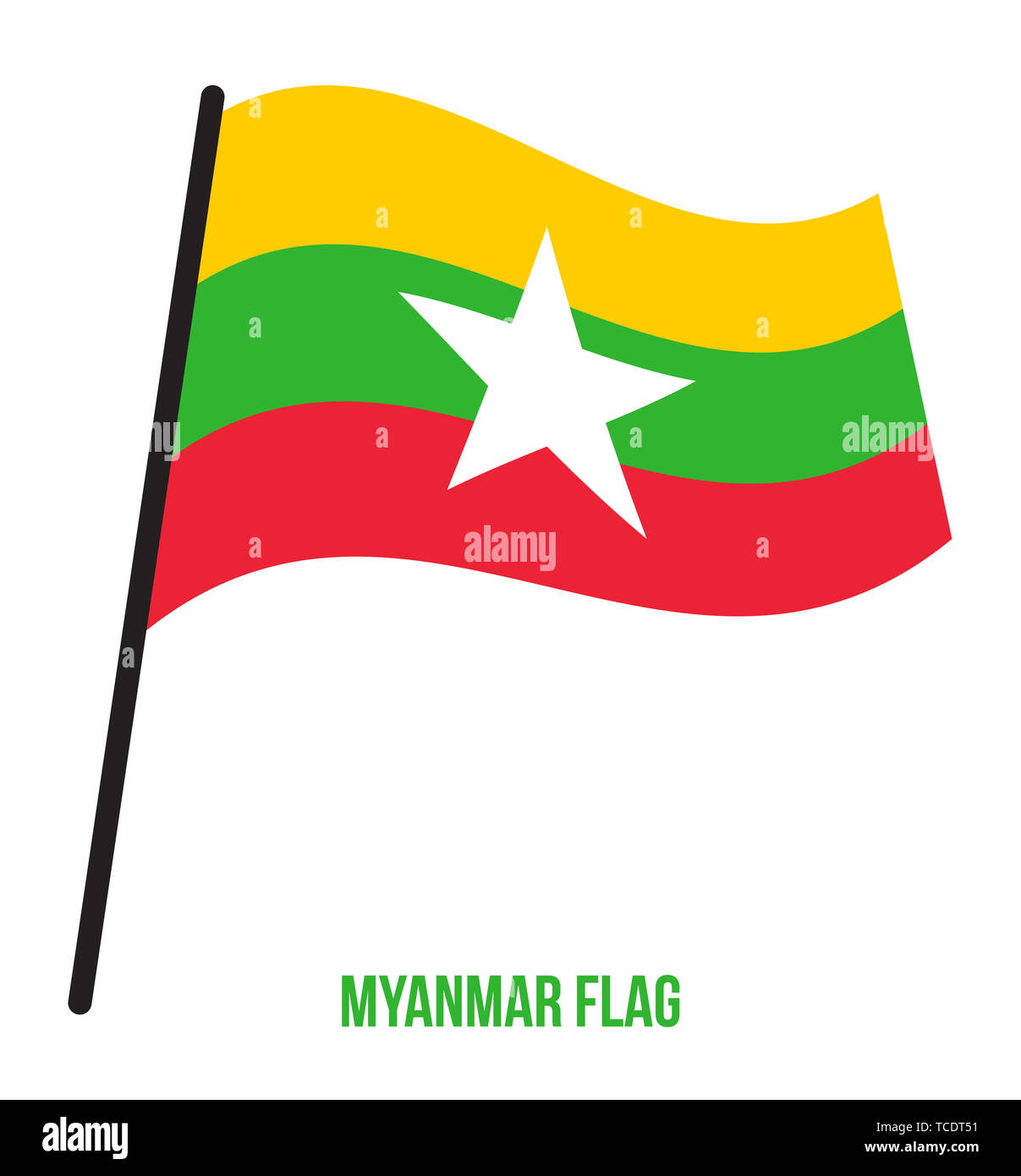 Myanmar Flag Waving Vector Illustration on White Background. Myanmar National Flag. - Stock Image