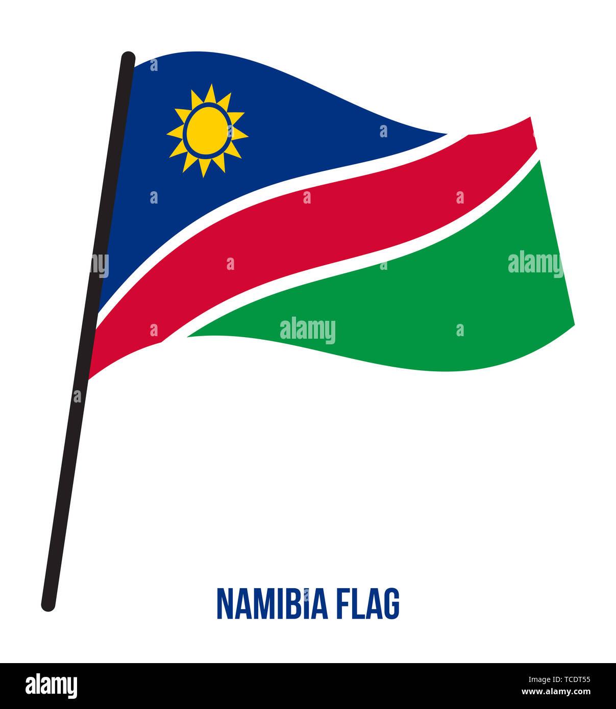 Namibia Flag Waving Vector Illustration on White Background. Namibia National Flag. - Stock Image