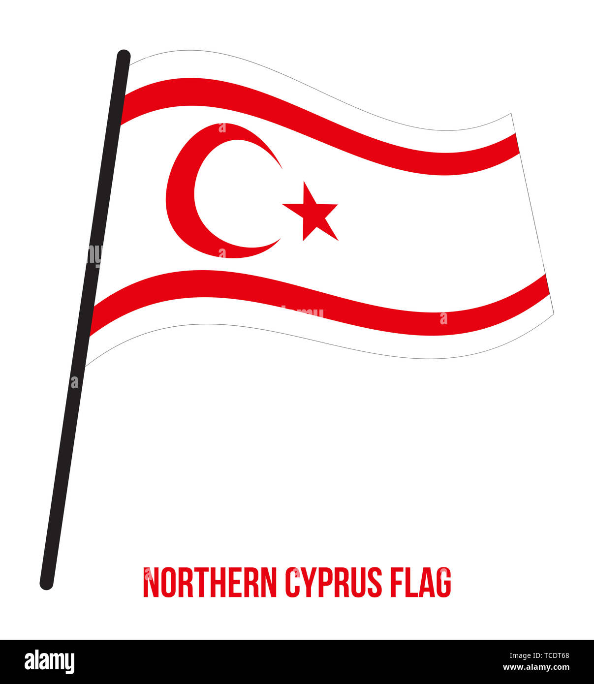 Northern Cyprus Flag Waving Vector Illustration on White Background. Northern Cyprus National Flag. - Stock Image