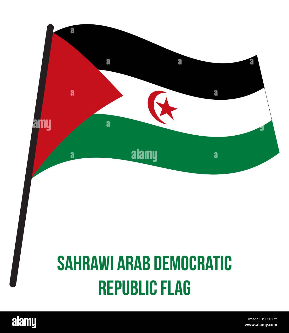 Sahrawi Arab Democratic Republic Flag Waving Vector Illustration on White Background. Sahrawi Arab Democratic Republic National Flag. - Stock Image