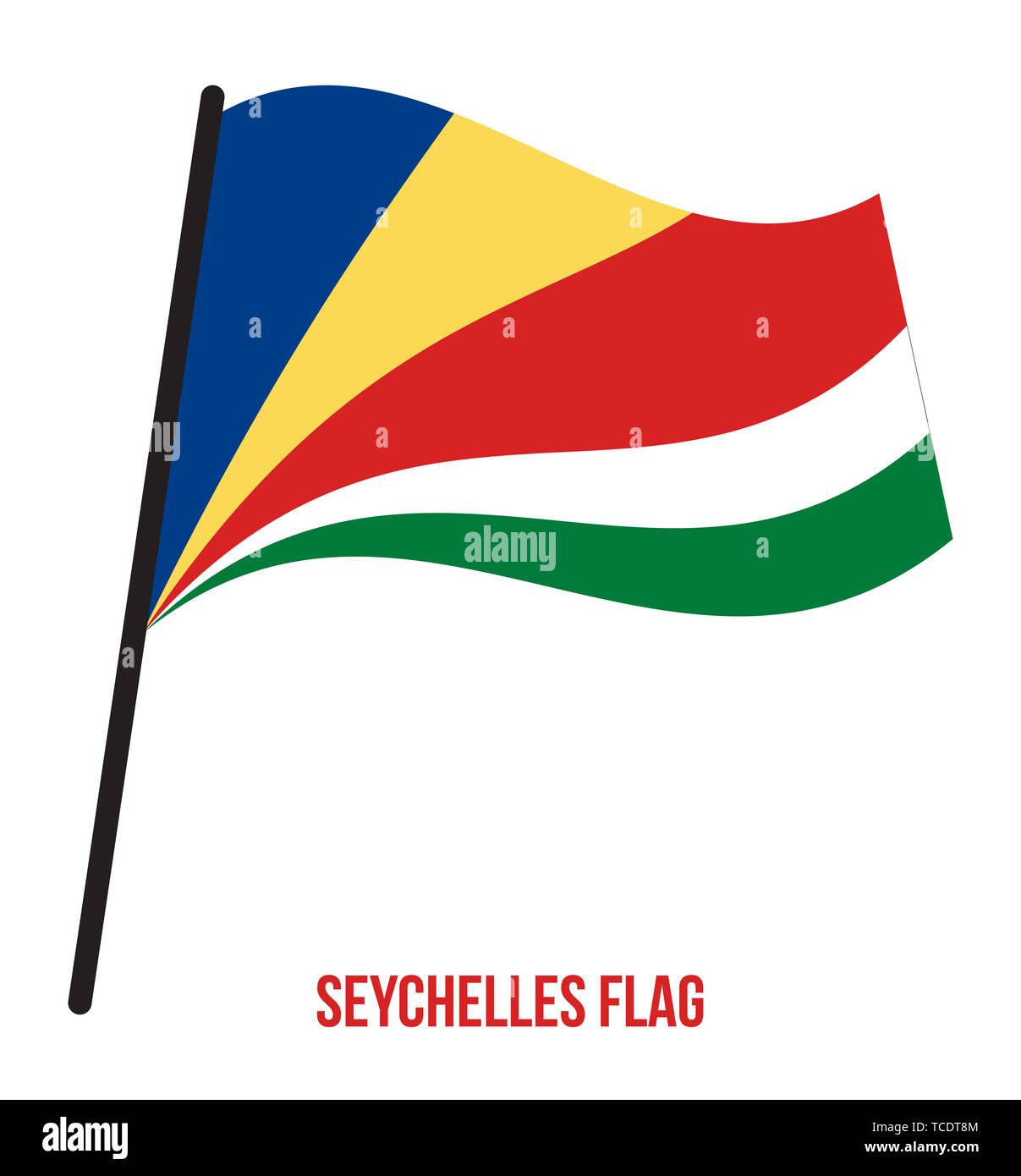 Seychelles Flag Waving Vector Illustration on White Background. Seychelles National Flag. - Stock Image