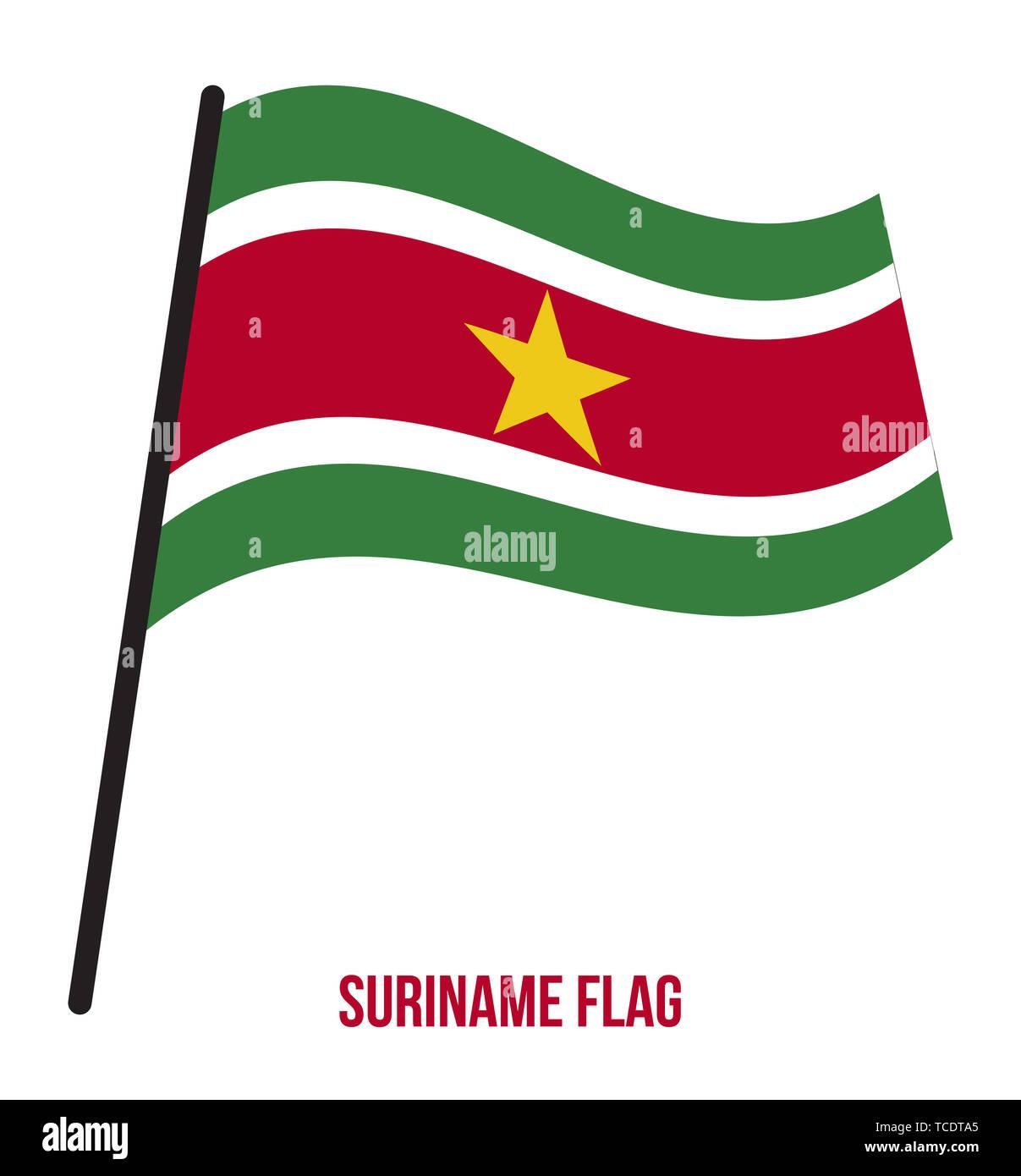 Suriname Flag Waving Vector Illustration on White Background. Suriname National Flag. Stock Photo