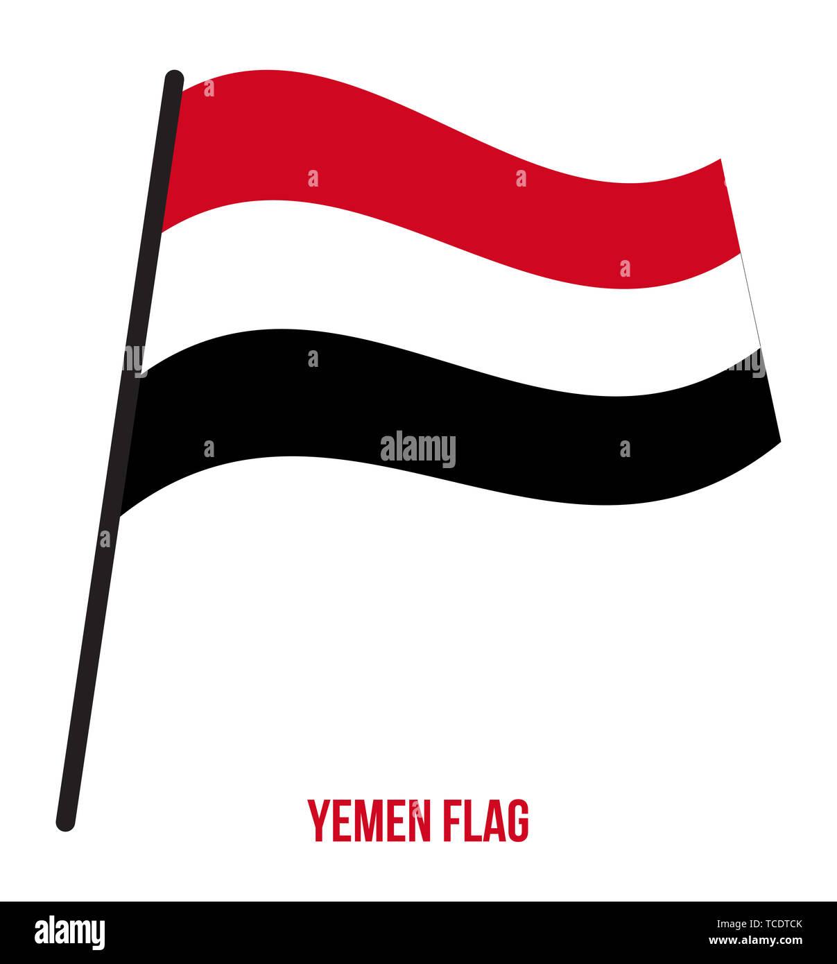 Yemen Flag Waving Vector Illustration on White Background. Yemen National Flag. Stock Photo