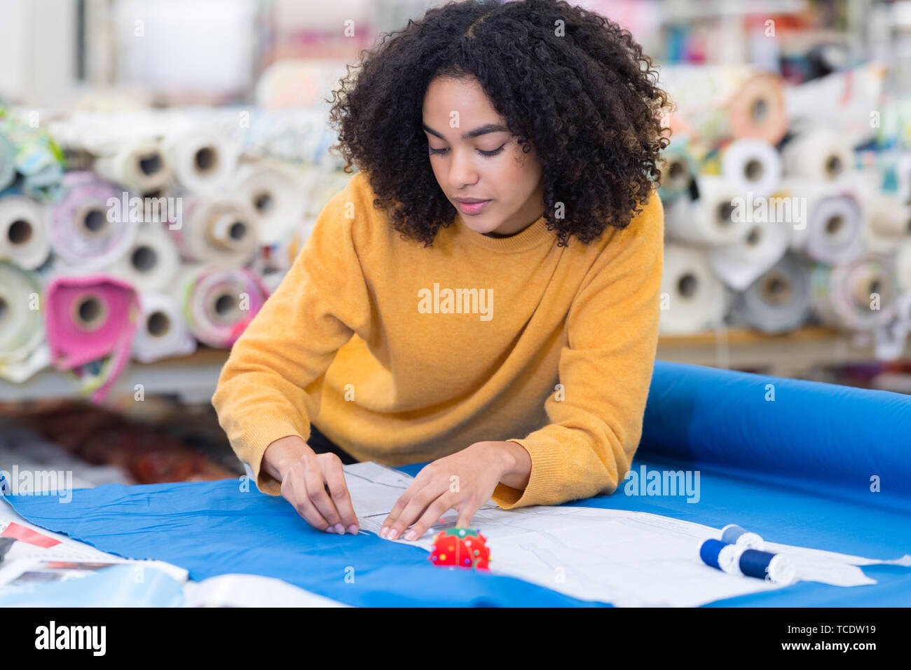 fabric factory designer - Stock Image