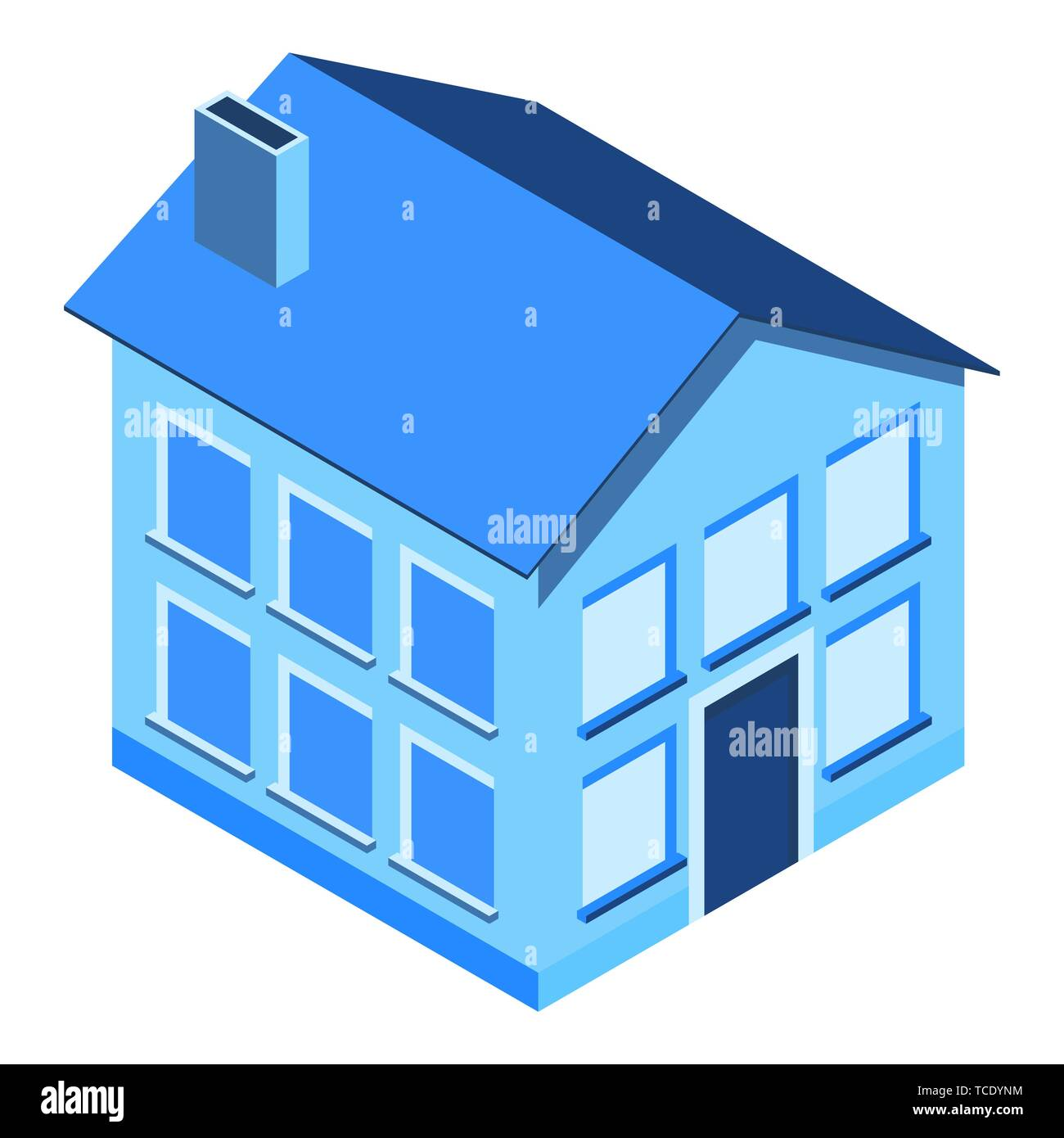 Isometric house on a white background. Private property. - Stock Image