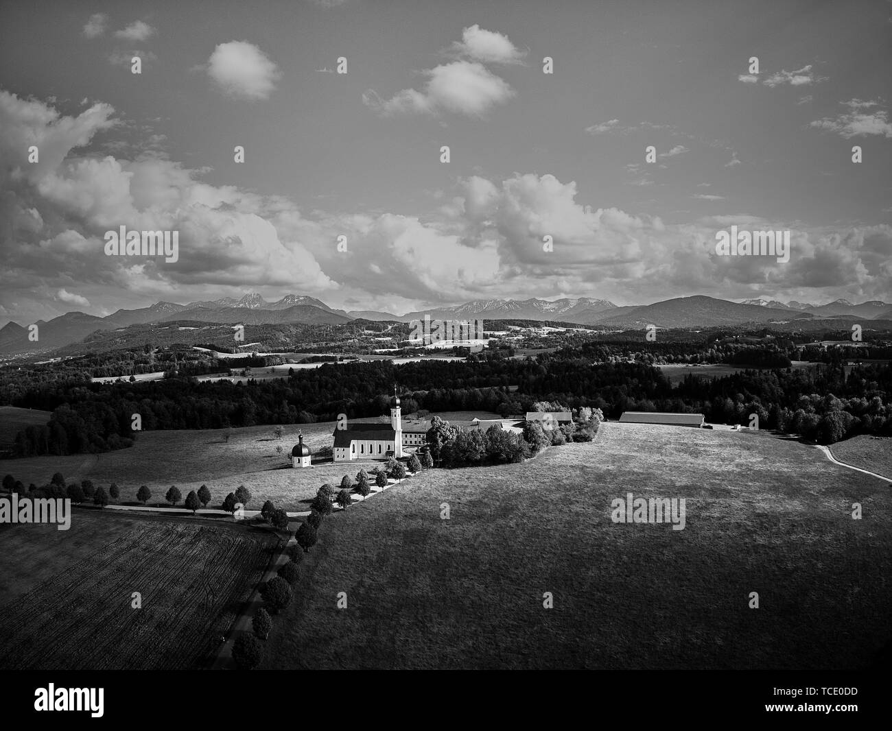 Pilgrimage Church Irschenberg Wilparting with mountain view - Stock Image