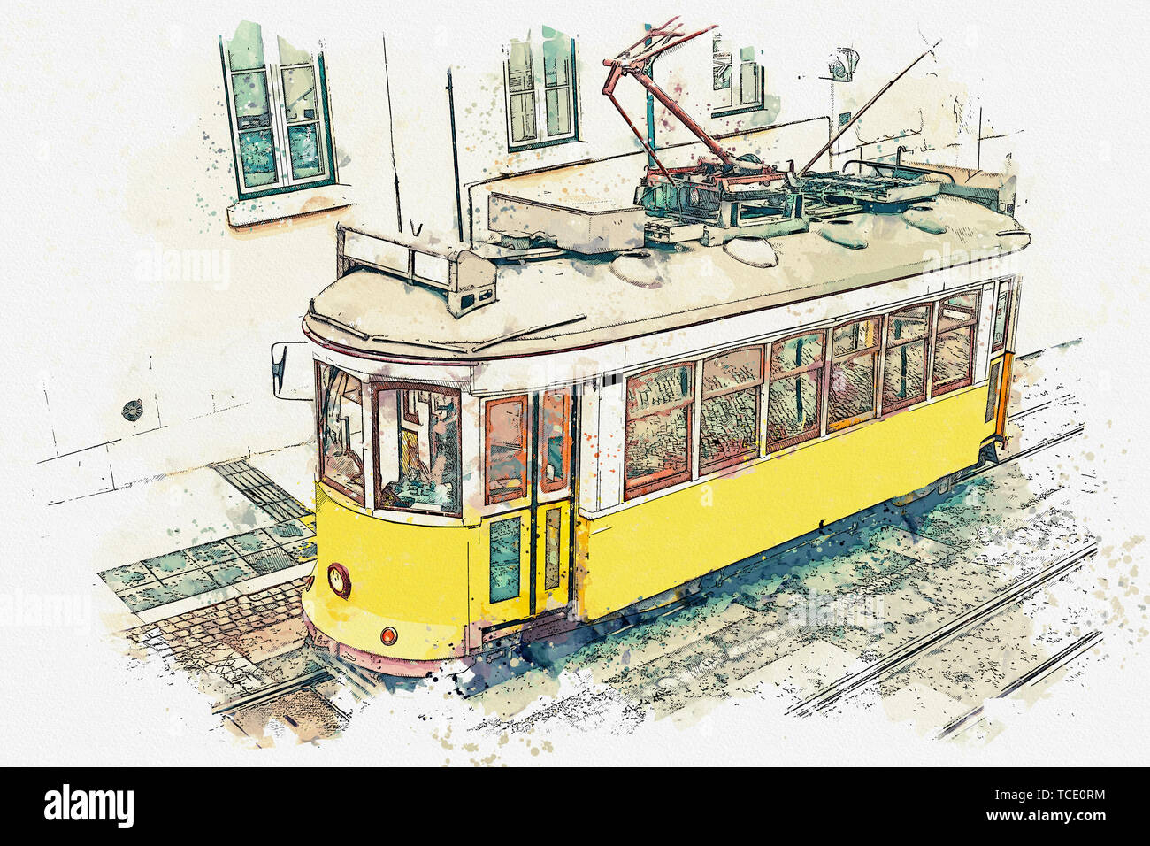 Watercolor sketch or illustration of a traditional yellow tram on a street in Lisbon in Portugal. Stock Photo
