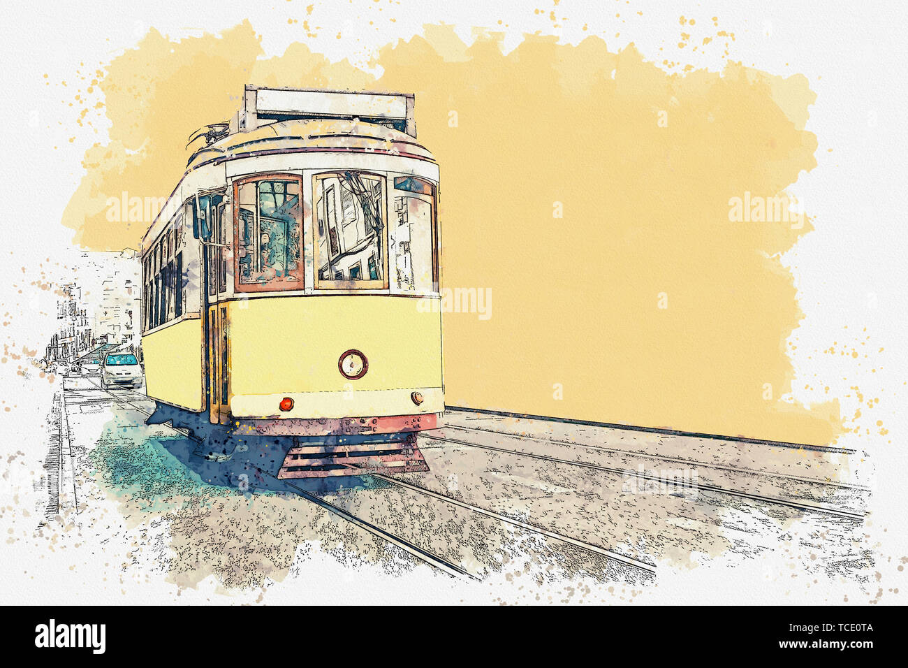 Watercolor sketch or illustration of a traditional yellow tram in Lisbon in Portugal. Stock Photo
