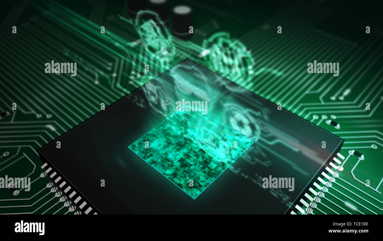 IOT - internet of things symbols hologram over working cpu in background. Circuit board 3d illustration. - Stock Image