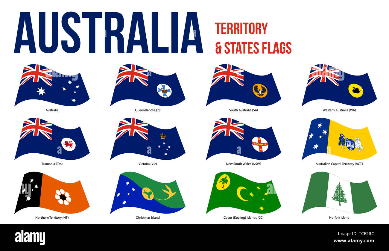 Australia All States, Internal Territories And The External Territory Flags Waving Vector Illustration on White Background. - Stock Image