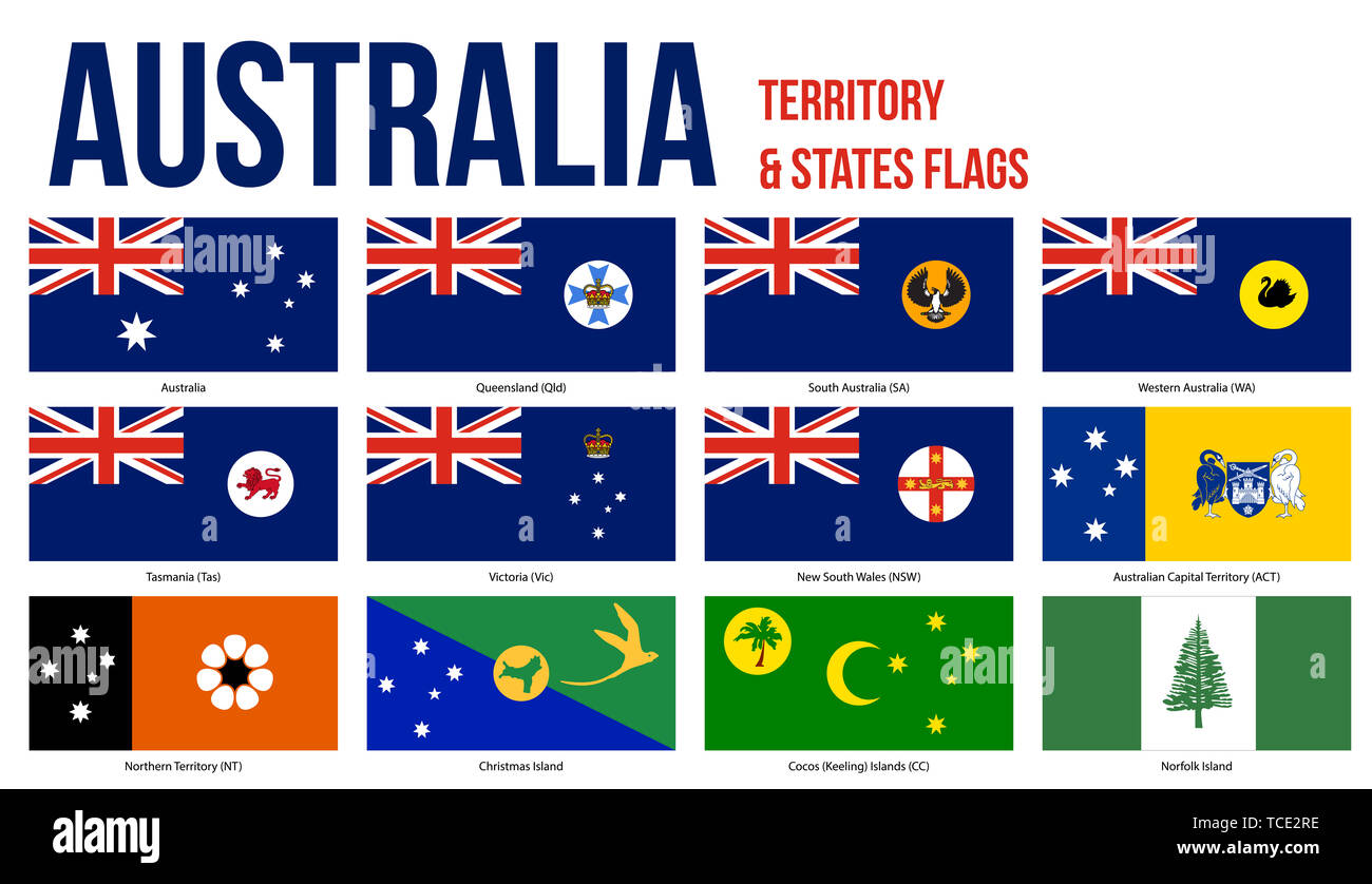 Australia All States, Internal Territories And The External Territory Flags Vector Illustration on White Background. - Stock Image