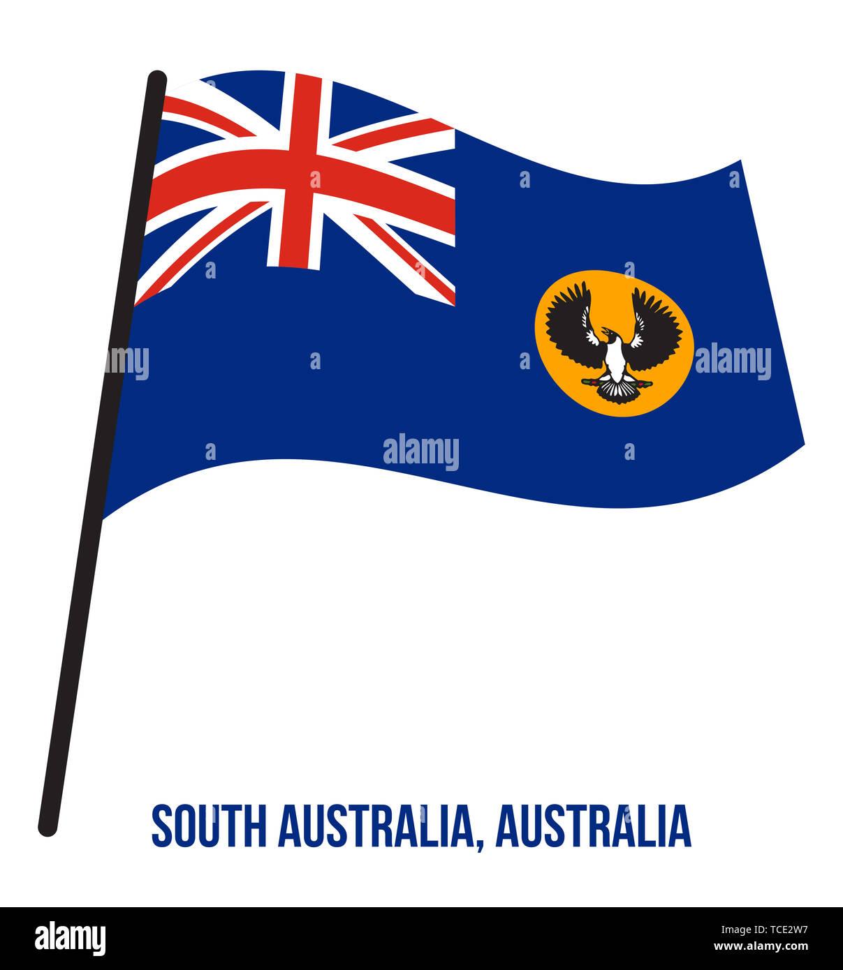 South Australia (SA) Flag Waving Vector Illustration on White Background. States Flag of Australia. - Stock Image