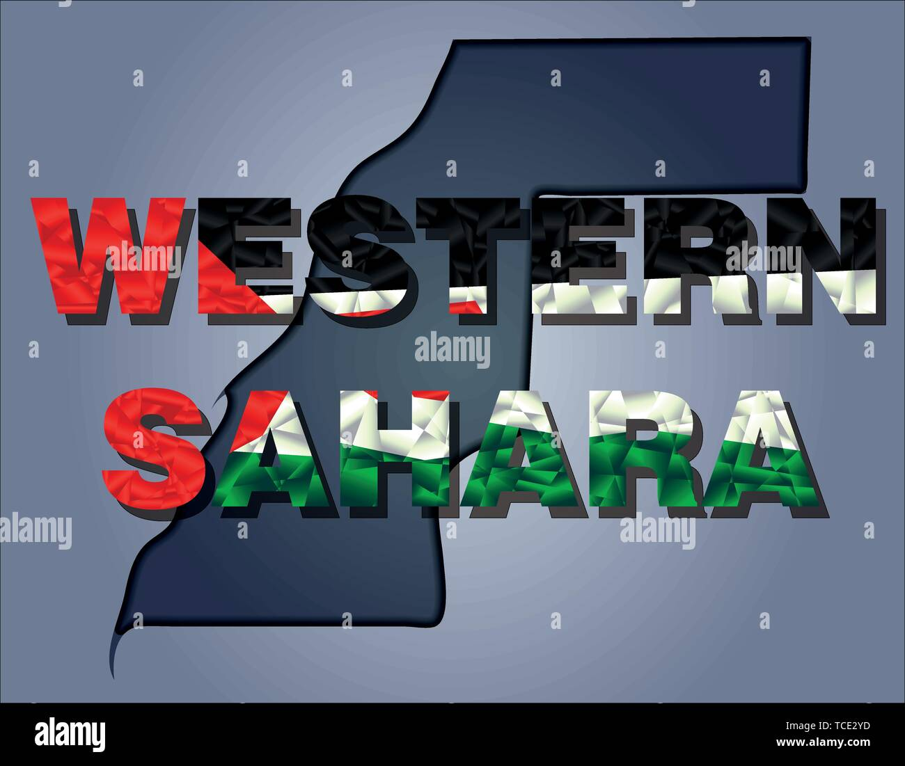 The contours of territory of Western Sahara and Western Sahara word in colours of the national flag, red, white, black and green. Africa continent - Stock Image