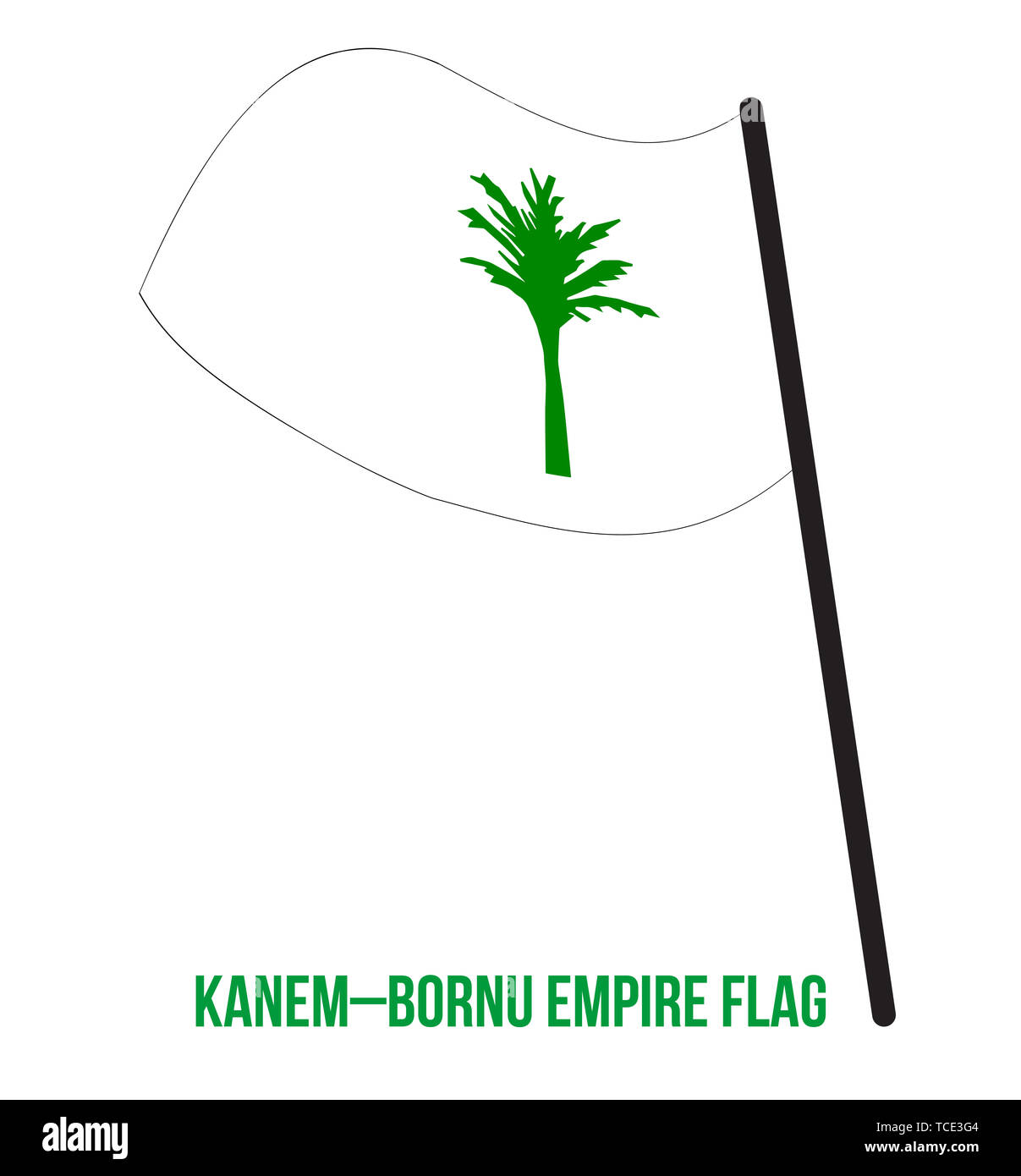 Kanem–Bornu Empire (c.700-1893) Flag Waving Vector Illustration on White Background. The Kanem–Bornu Empire was an empire that existed in modern Chad  - Stock Image