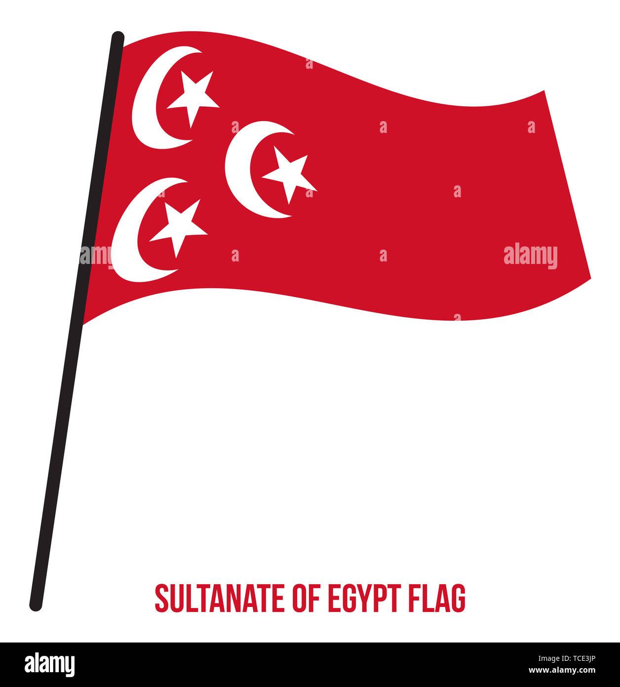 Sultanate of Egypt Flag Waving Vector Illustration on White