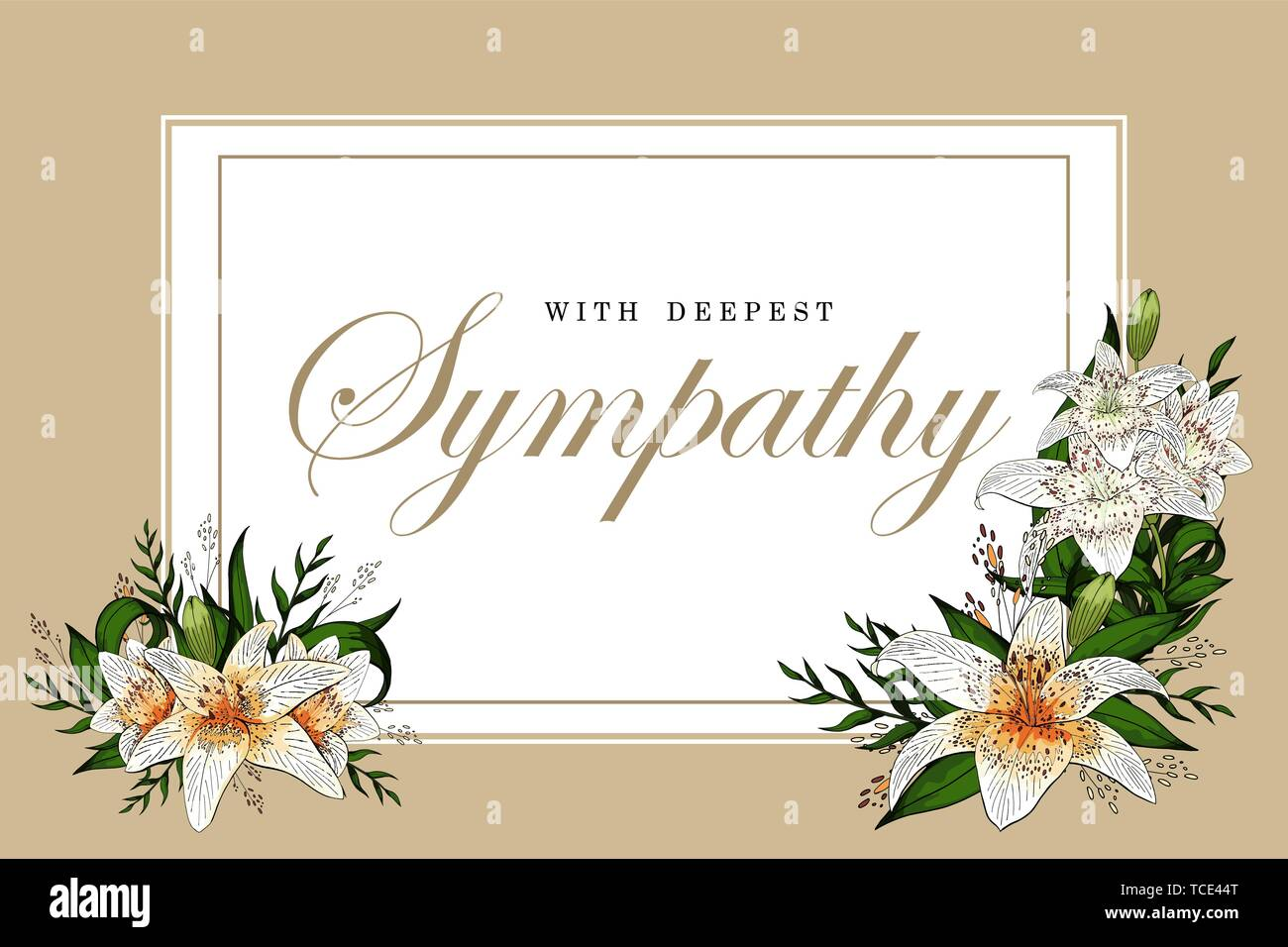 Condolences sympathy card floral lily bouquet and lettering Stock