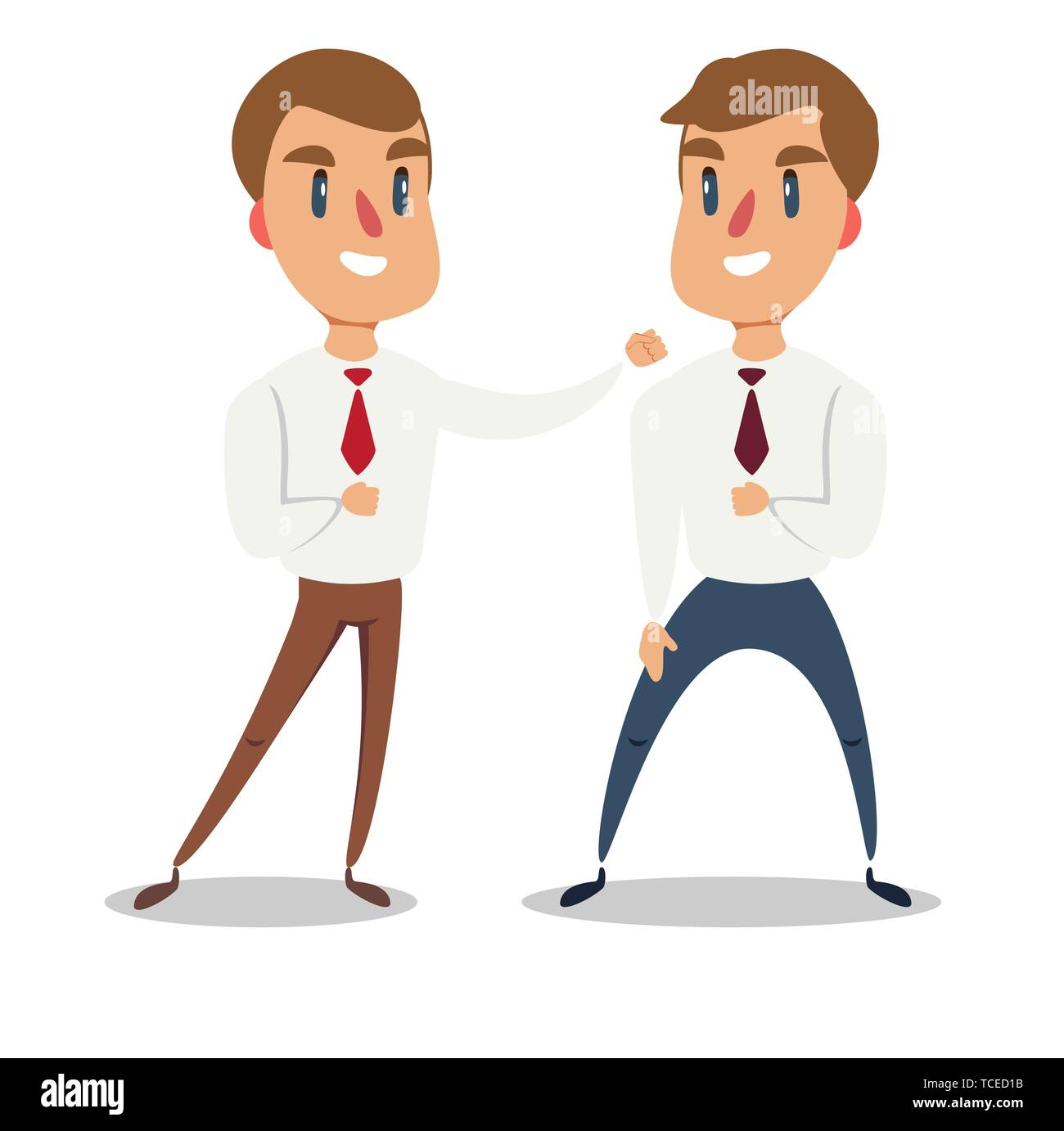 Businessman fighting against another businessman. Business competition concept. - Stock Vector