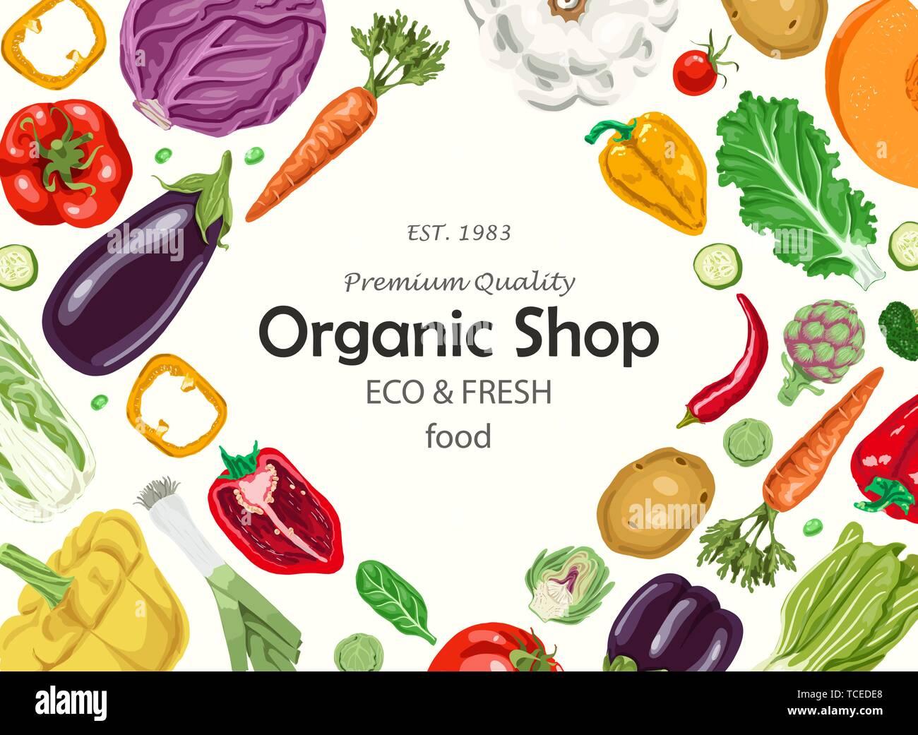 Horizontal Background With Vegetables Farmers Market Menu