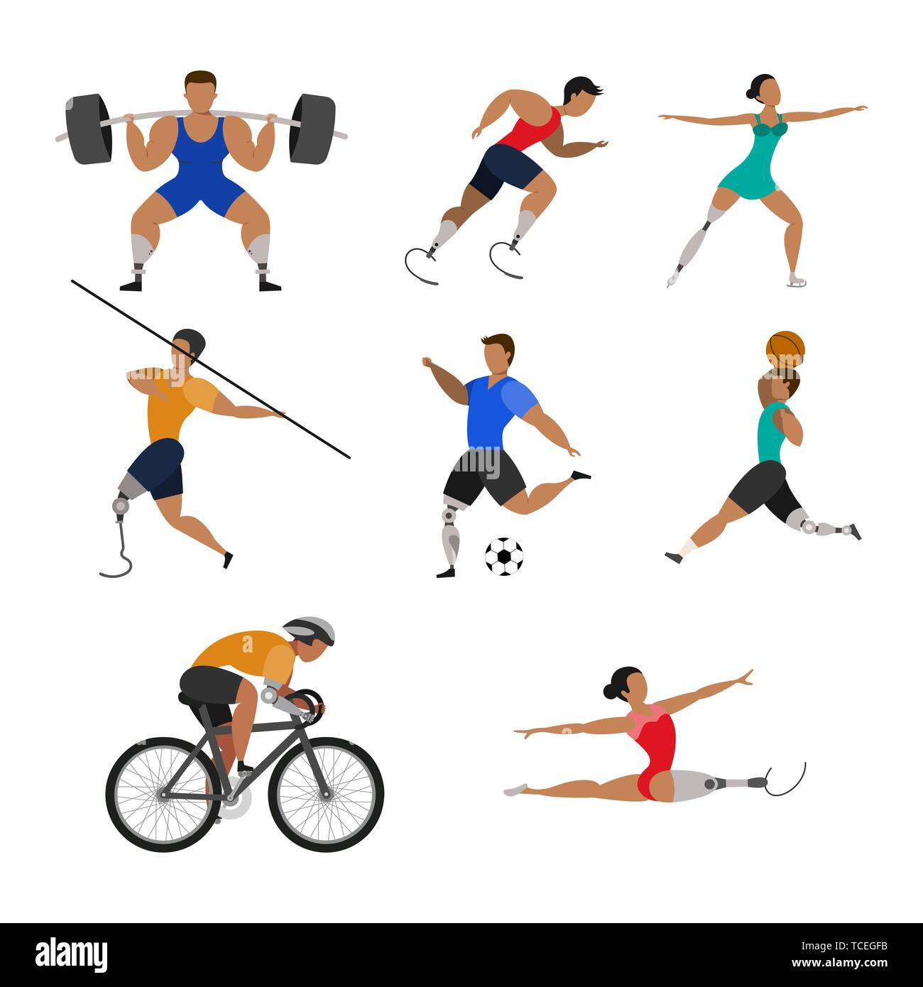 Set of athletes with bio prosthetic limbs on a white background. - Stock Vector